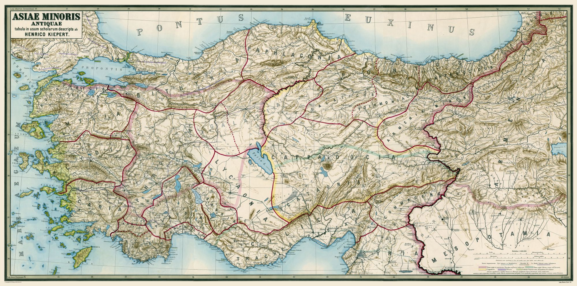 Map Of Asia Minor.International Map Ancient Asia Minor Kiepert 1888 46 33 X 23