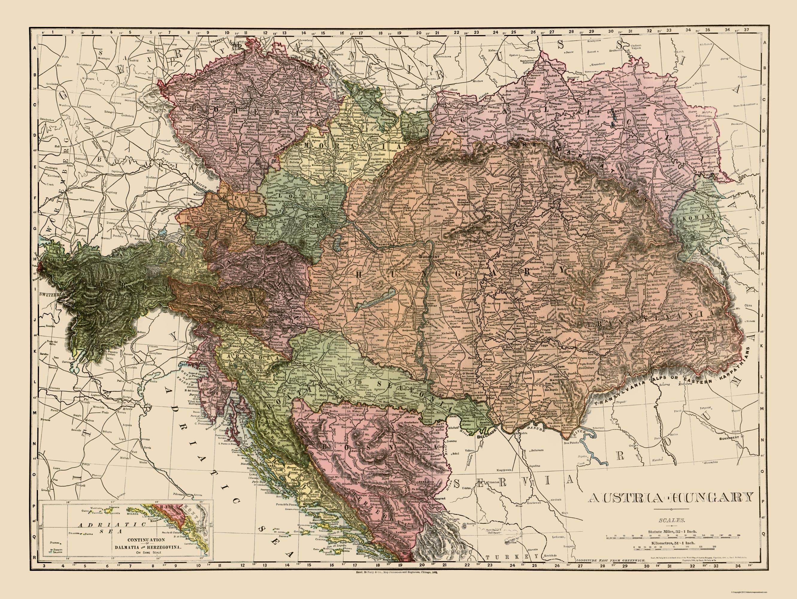 Old Austria Map - Austria, Hungary Rand McNally 1895