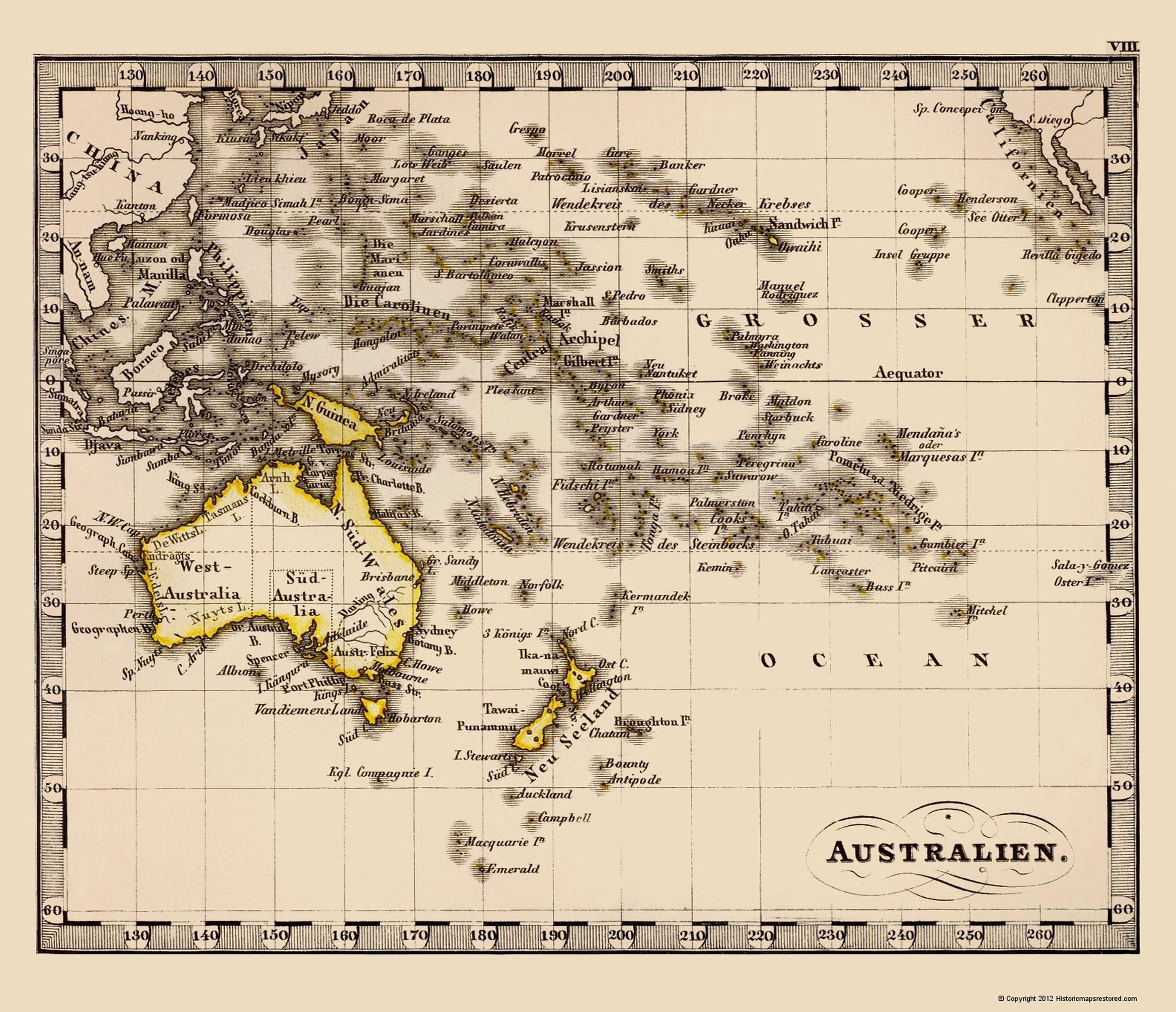 Old Oceania Map - Australia, Oceania - Stieler 1852 - 23 x 26.71