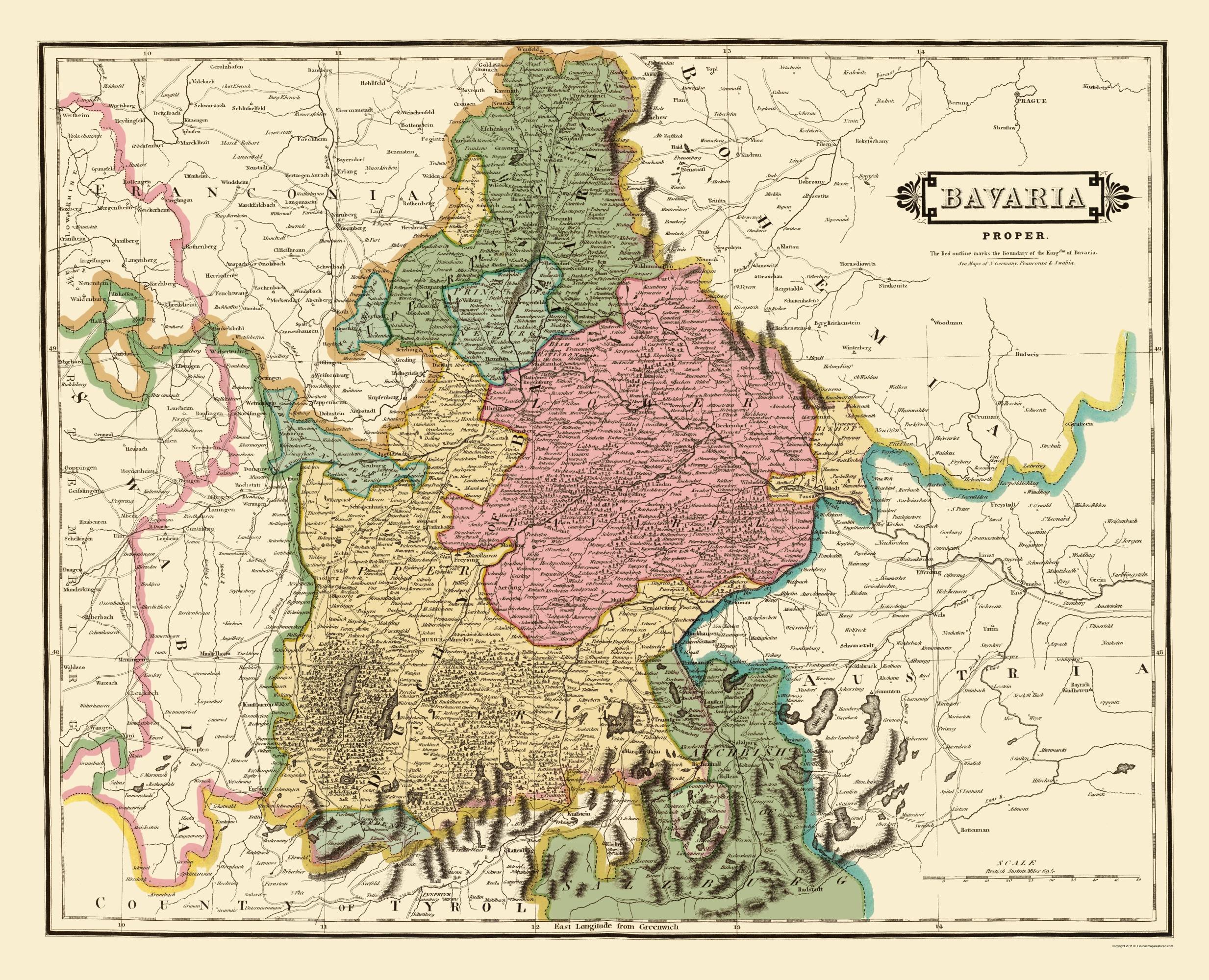 Old Germany Map Bavaria Hamilton 1831