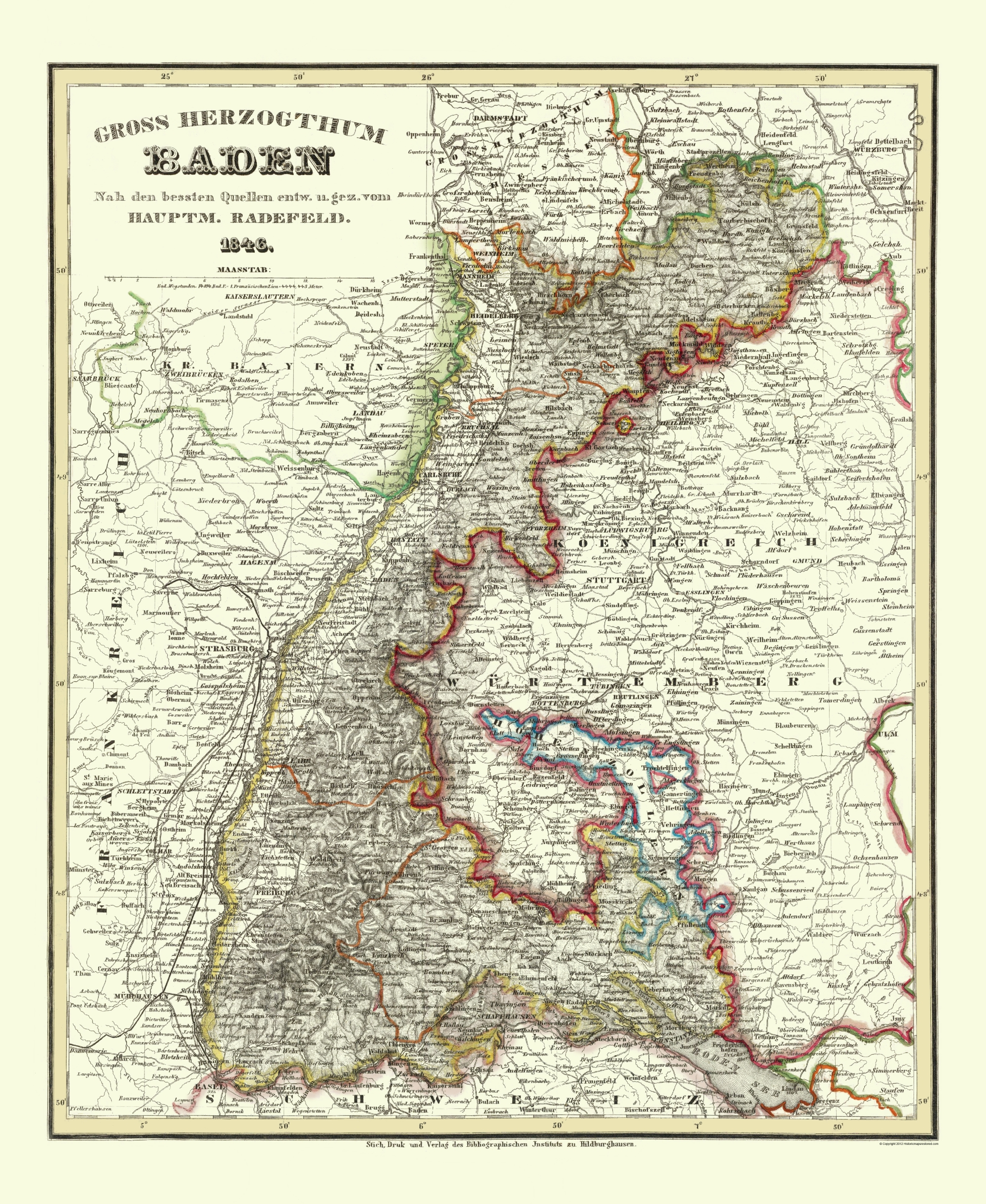 Old Germany Map Baden Wurttemberg 1860