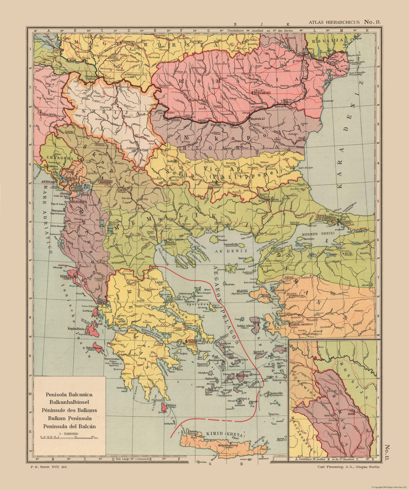 Old International Maps | Balkan Peninsula - Streit\'s Atlas 1913 - 23 ...