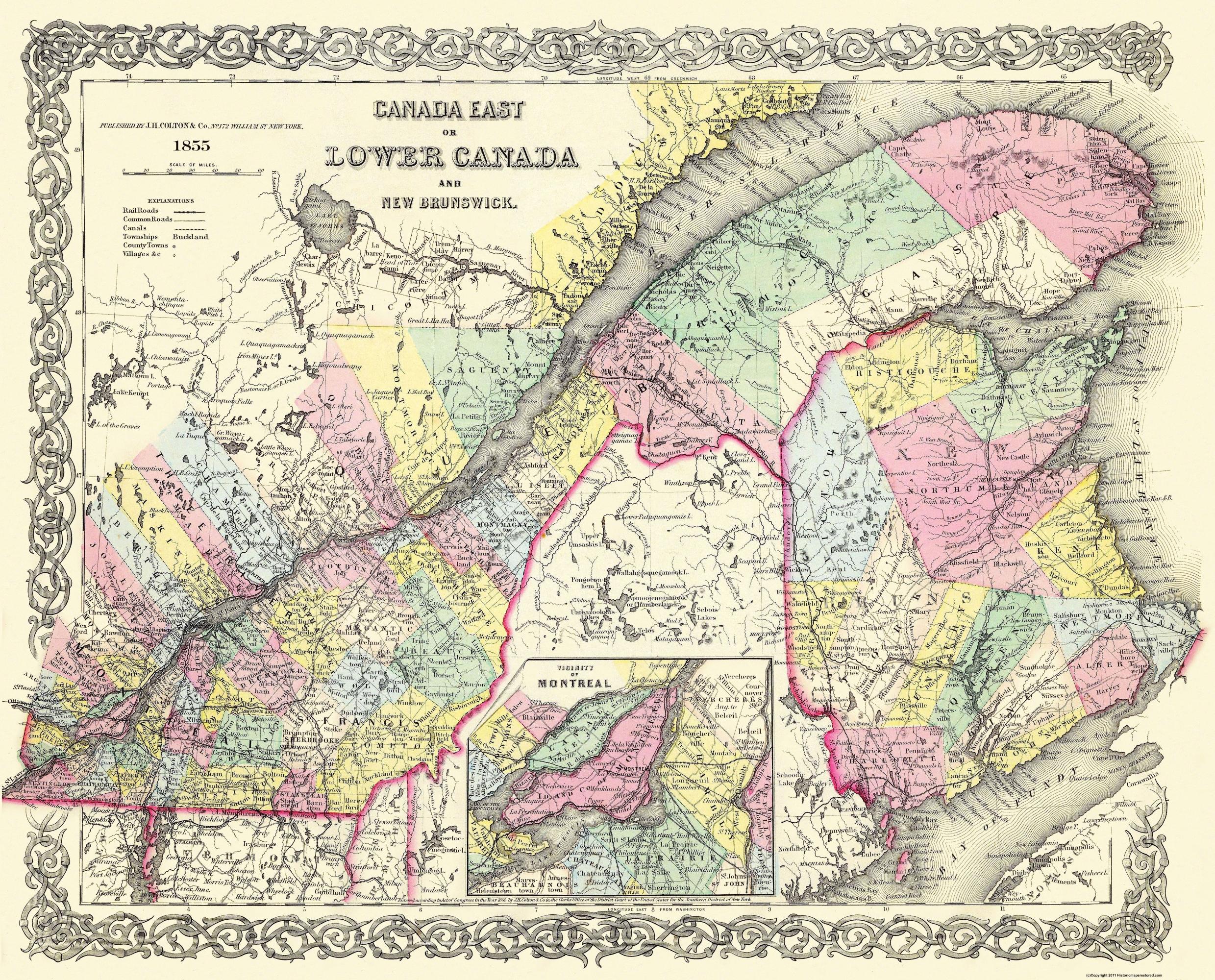 Map Of Canada New Brunswick.Old Canada Map Lower New Brunswick Montreal
