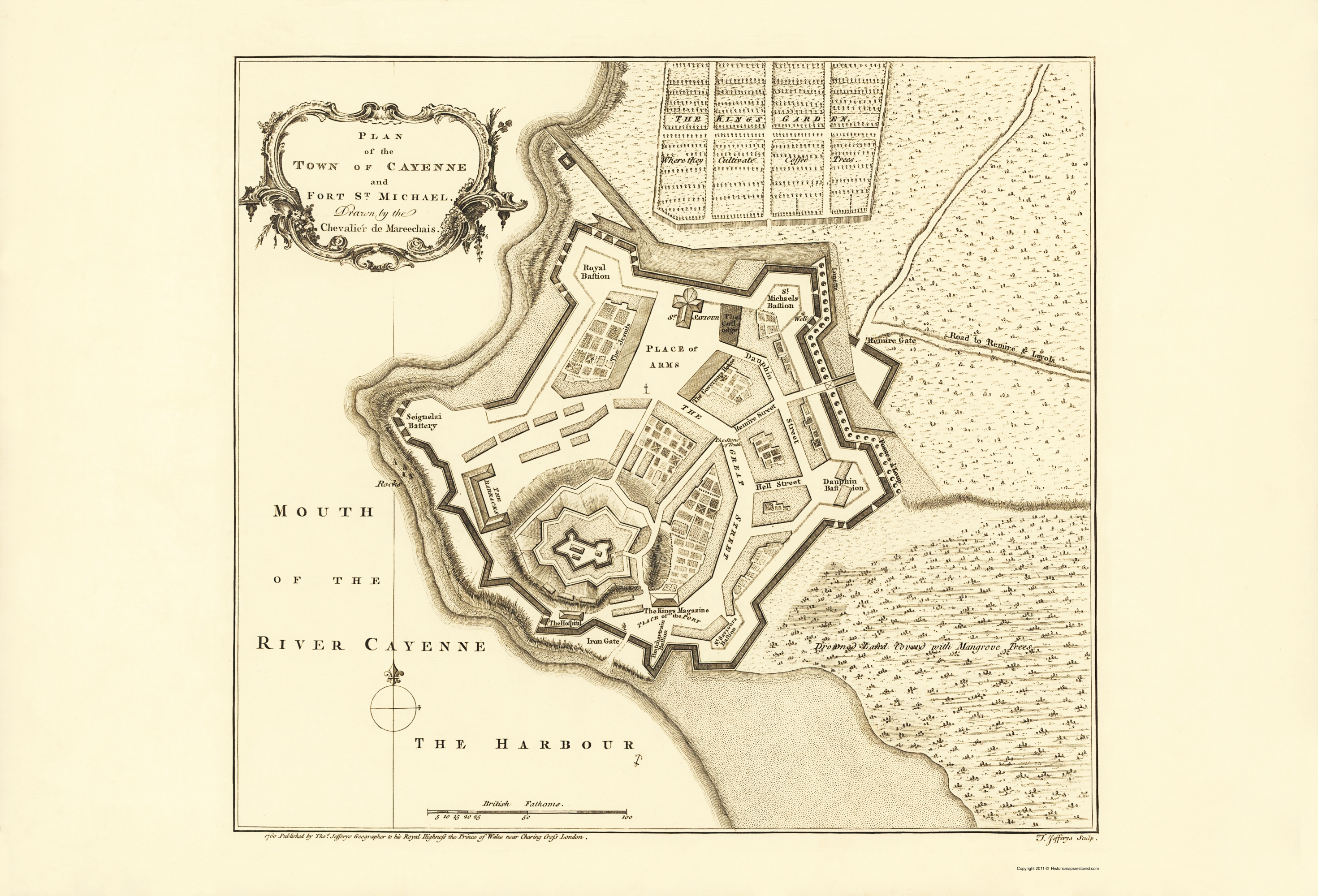 Old Map Cayenne Fort St Michael French Guiana 1760