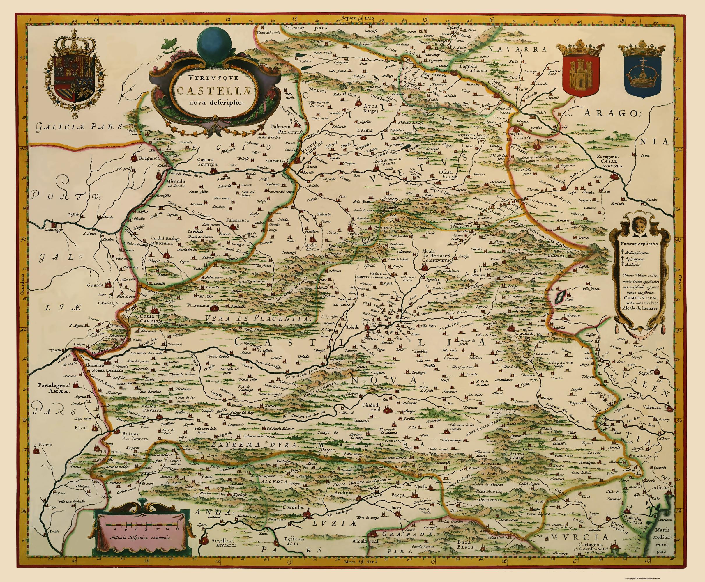 Old Iberian Peninsula Map - Castile, Spain Blaeu 1635 on