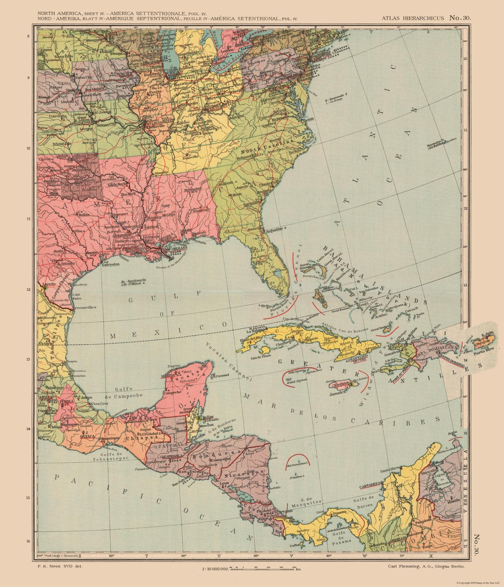 Old International Maps | United States, Central America - Streit\'s ...