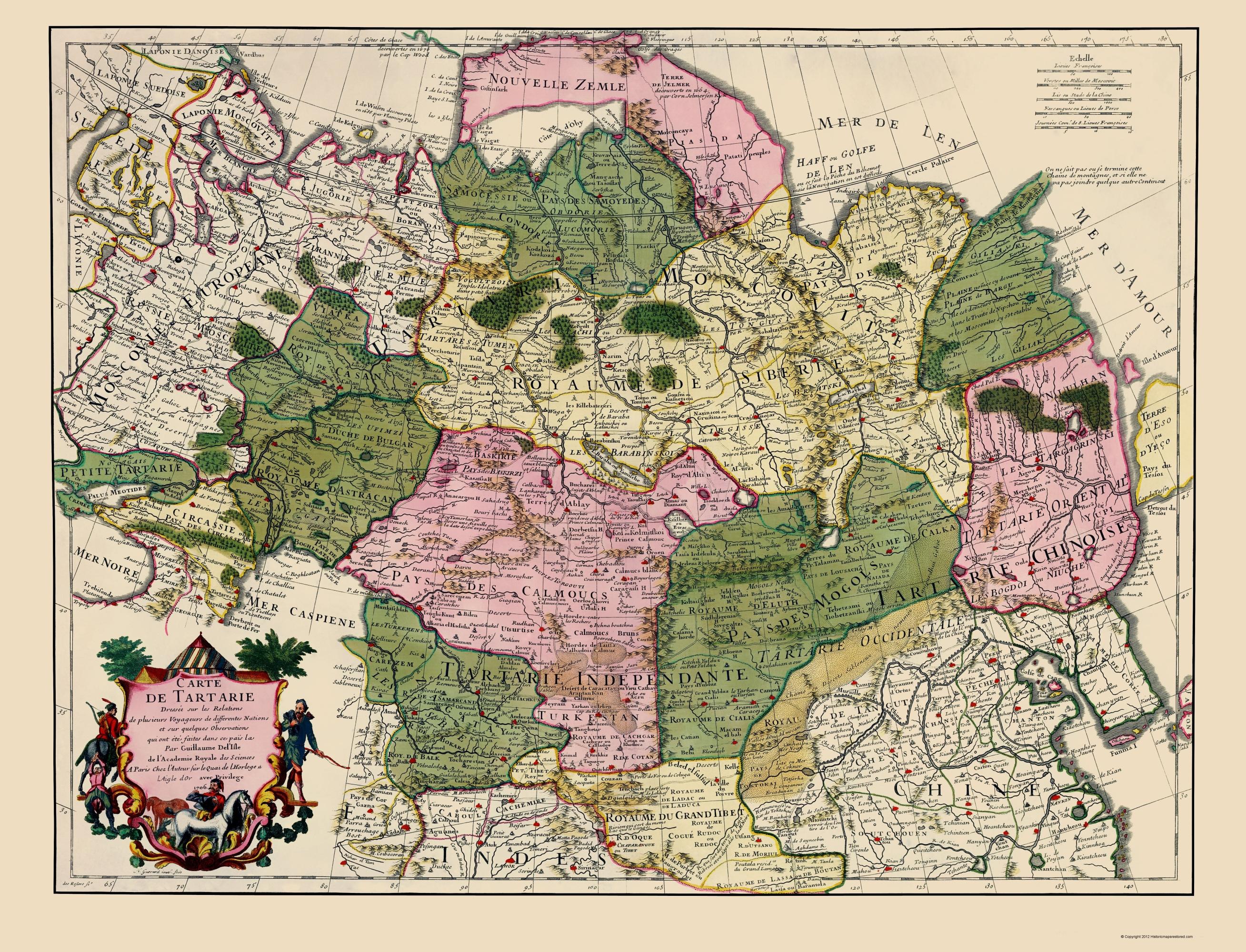 Old Asia Map China Russia De Lisle 1706