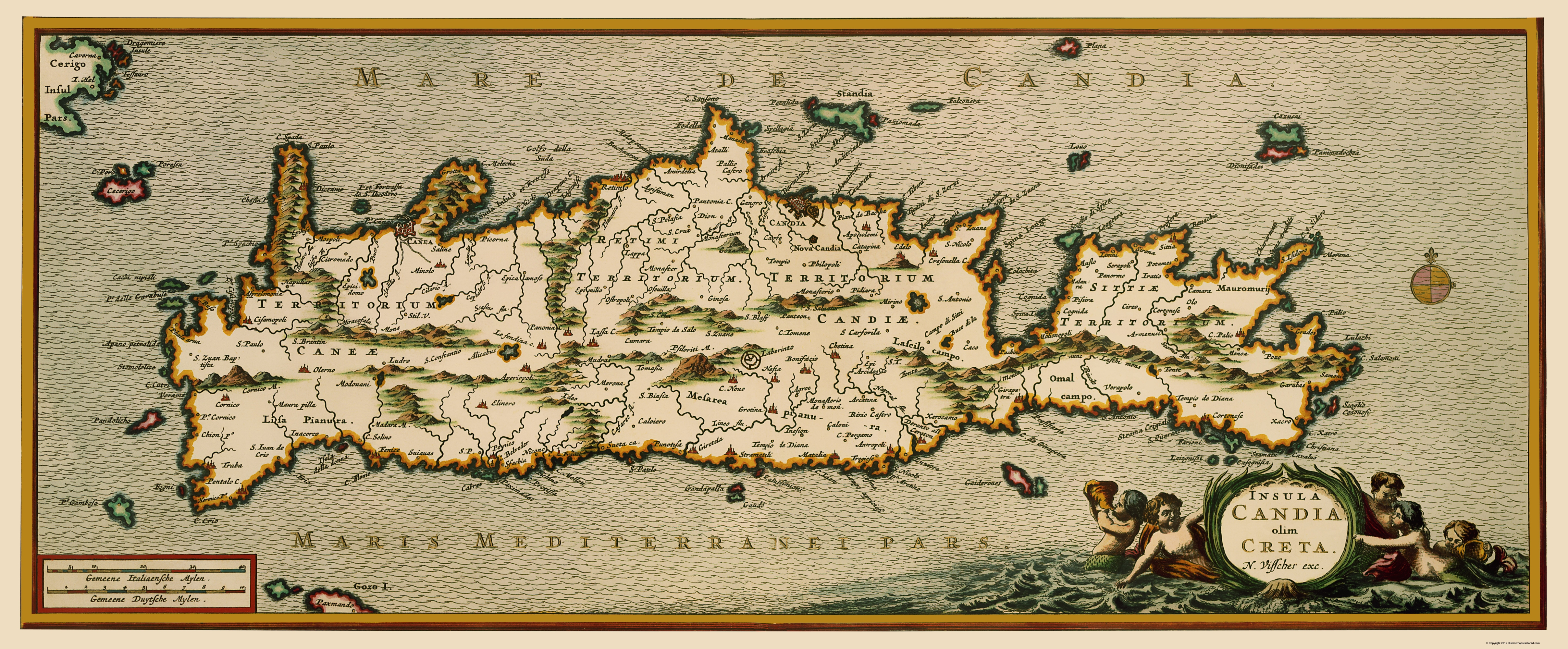 Old Greece Map Crete Visscher 1680 23 X 55 56