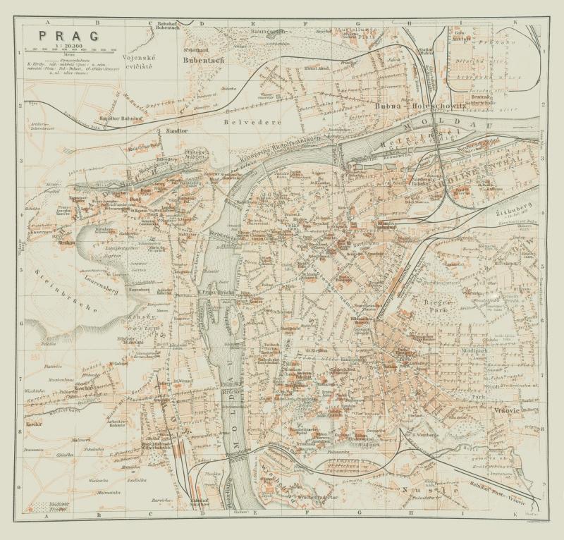 International Map - Prague - Czech Republic - Baedeker 1910 - 24.02 x 23