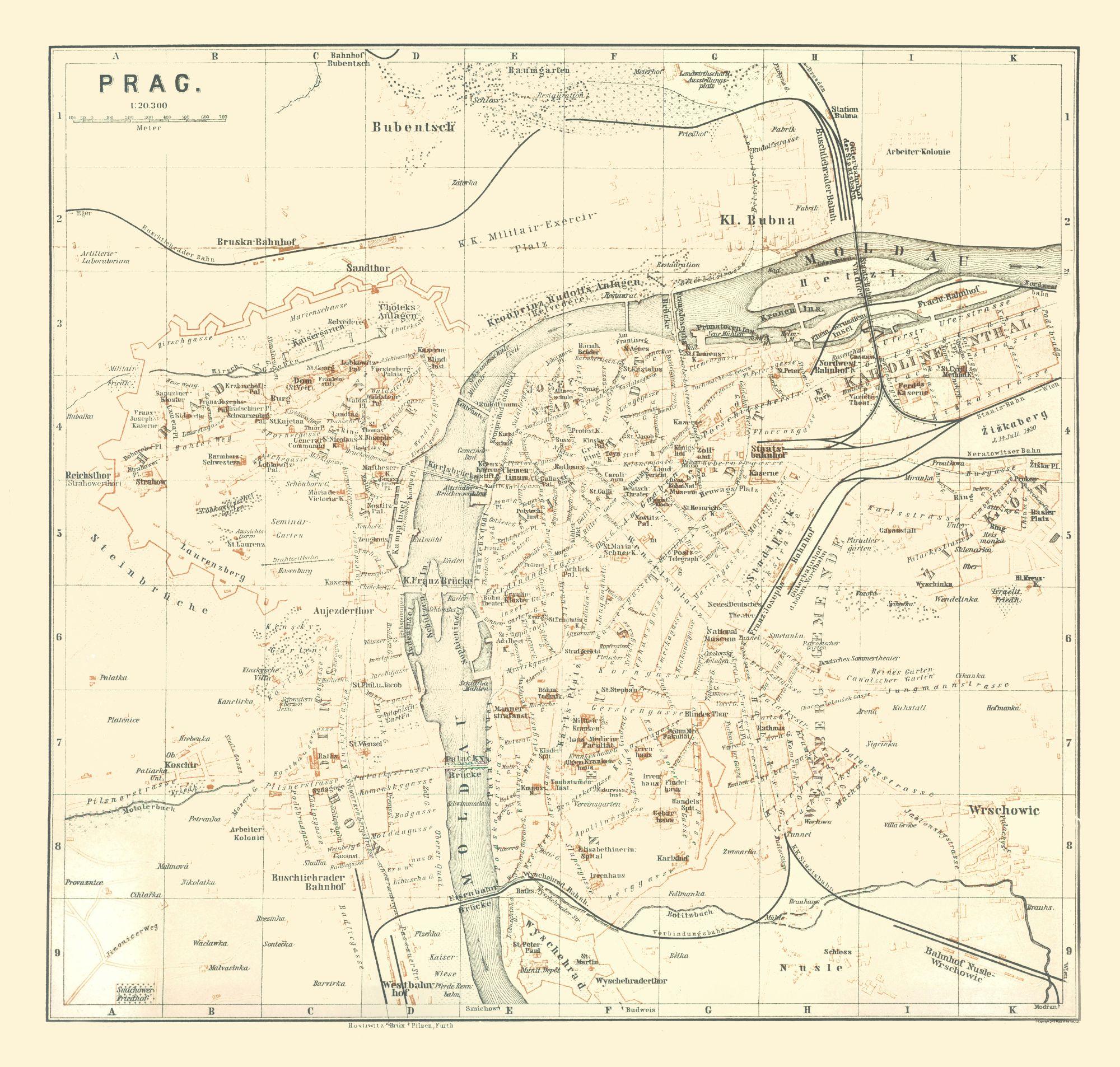 International Map - Prague - Czech Republic - Baedeker 1896 - 24.13 x 23