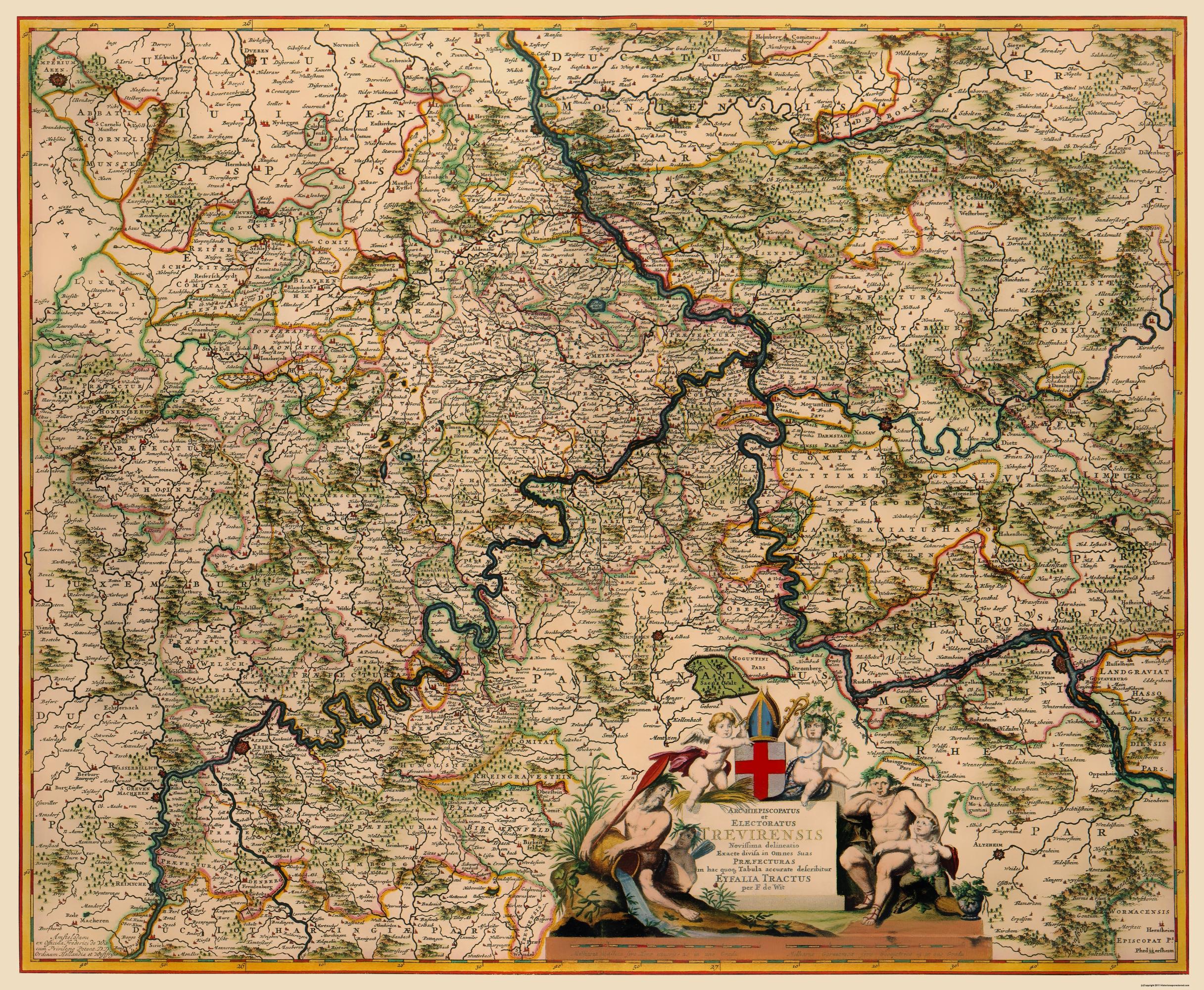 Old Germany Map Trier De Witt 1688
