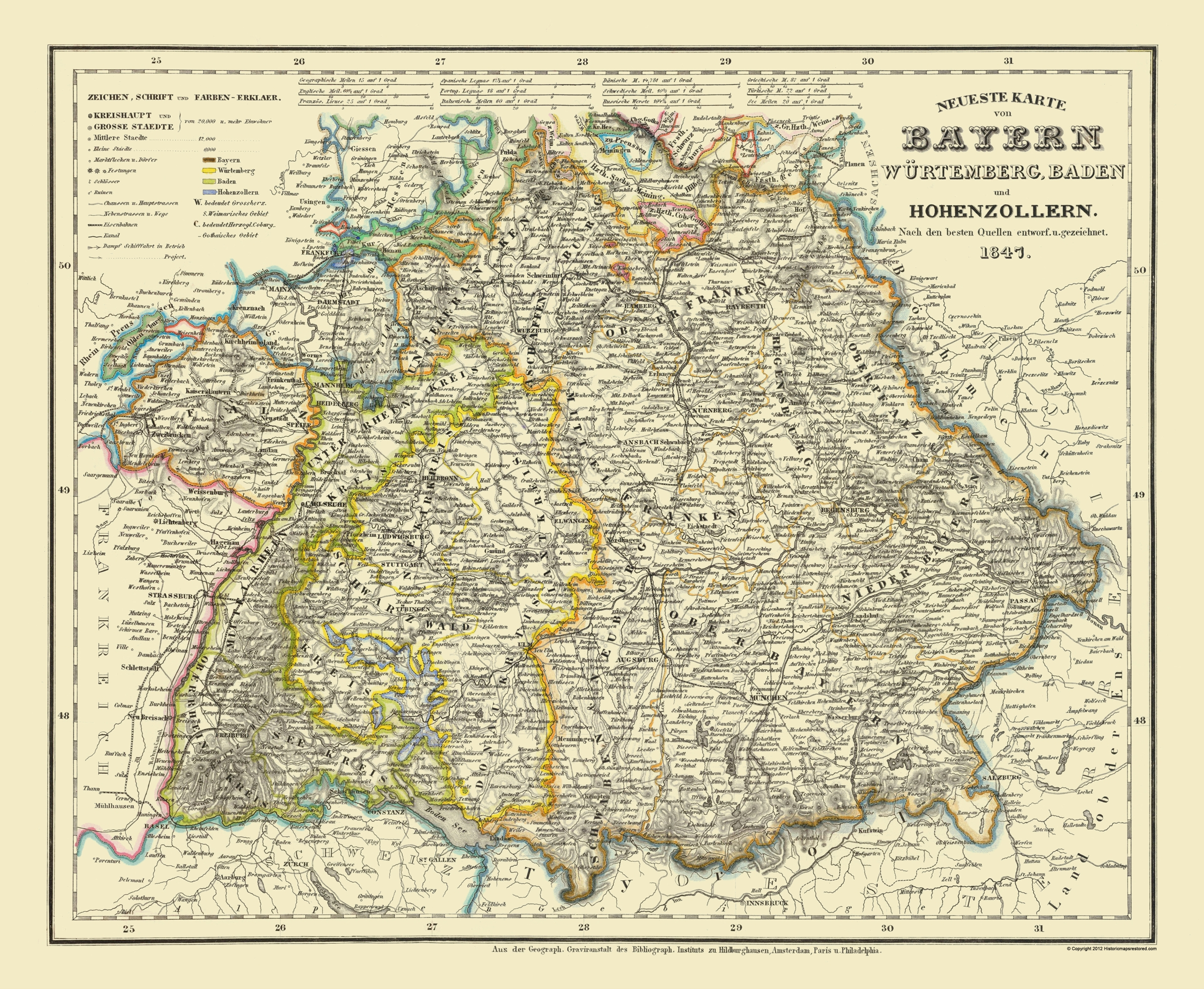 Map Of Old Germany.Old Germany Map Bavaria Province 1841