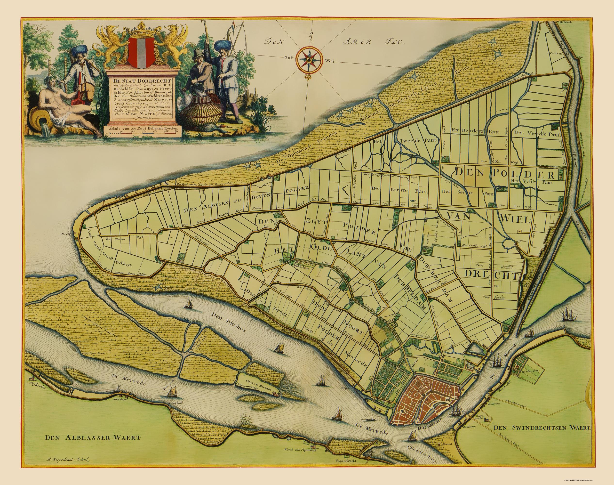 Old Netherlands Map Dordrecht Van Nispen 1673
