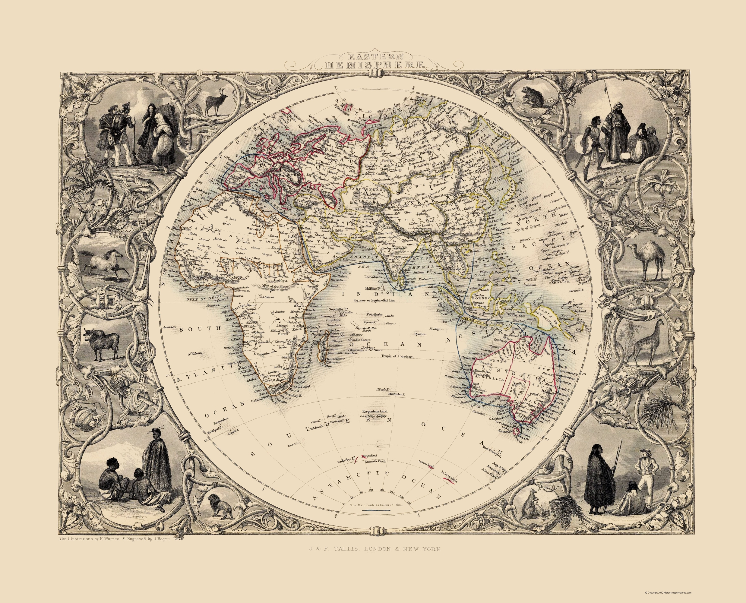 Old Eastern Hemisphere Map - Tallis 1851