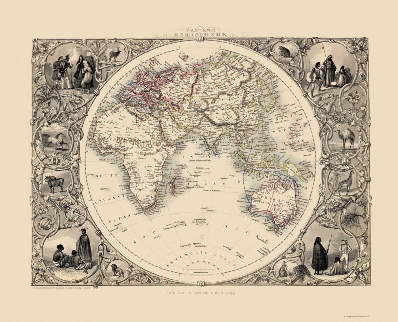 Old Eastern Hemisphere Map - Tallis 1851 - 23 x 28.45