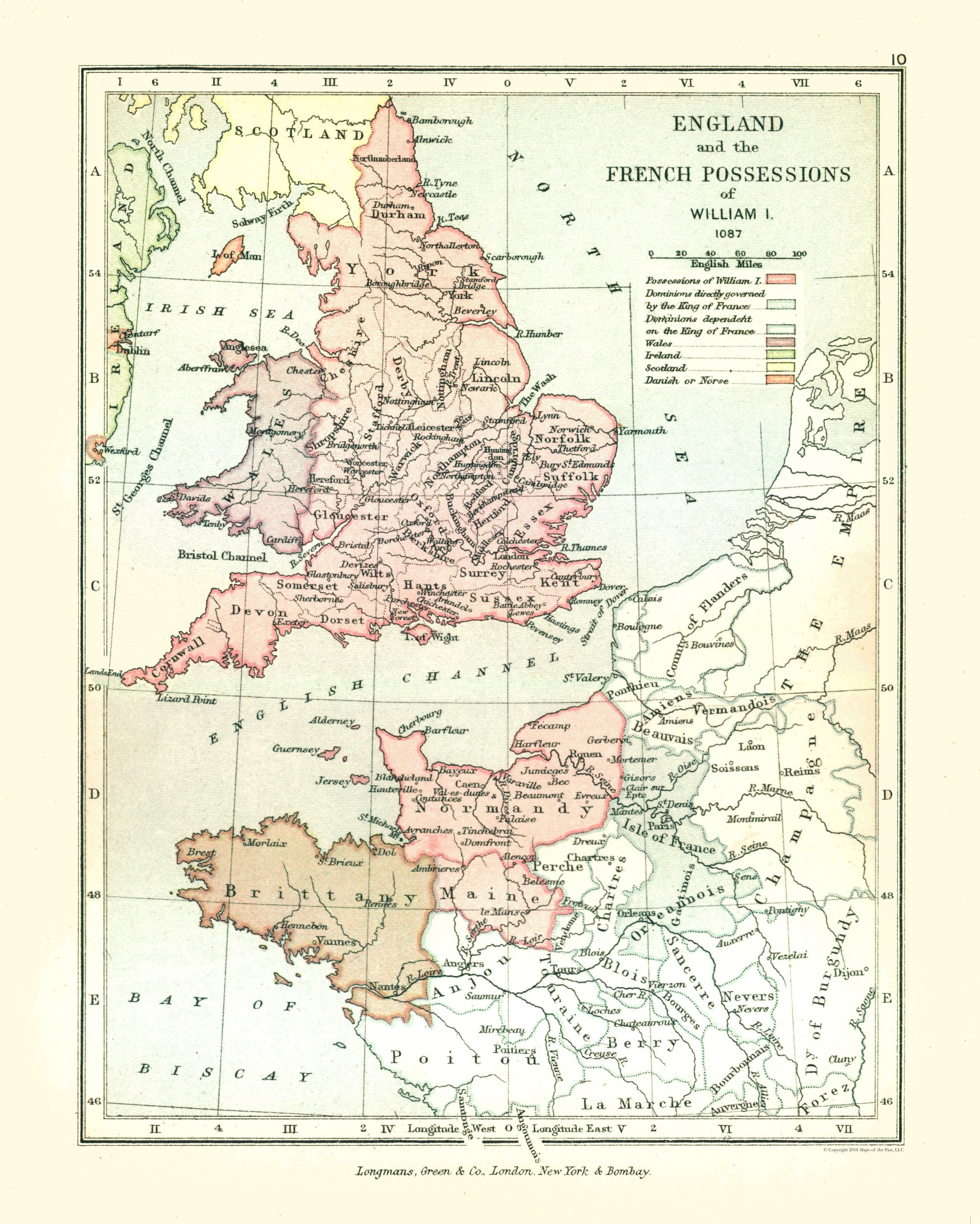 Map Of England France.Old International Maps England And France In 1087 Gardiner 1902
