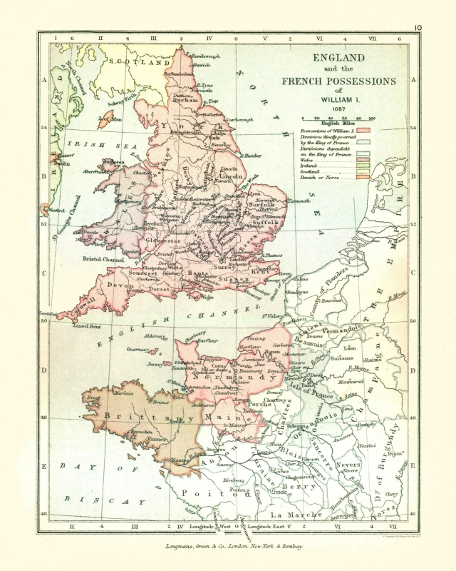 Map Of England To France.Old Europe Map England And France In 1087 Gardiner 1902 23 X 28 74