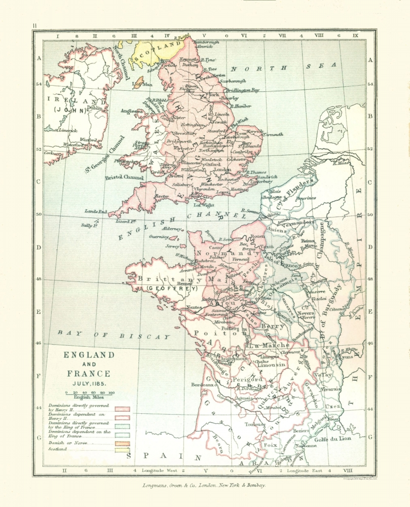Map Of England To France.Old Europe Map England And France In 1185 Gardiner 1902 23 X 28 44