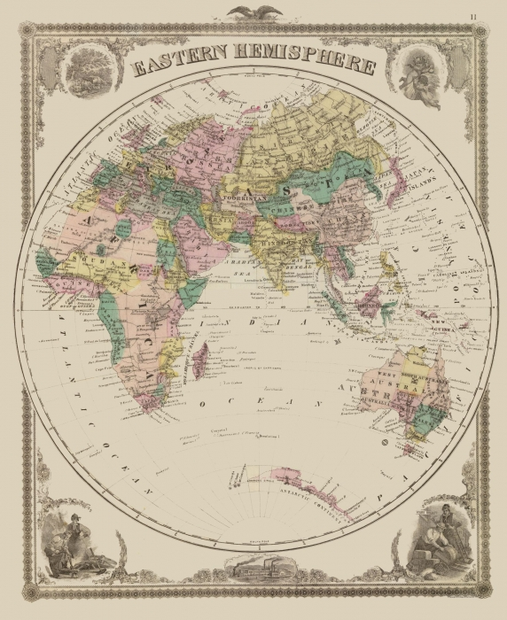 Old International Maps | Eastern Hemisphere - Andreas 1875 - 23 x 28.15