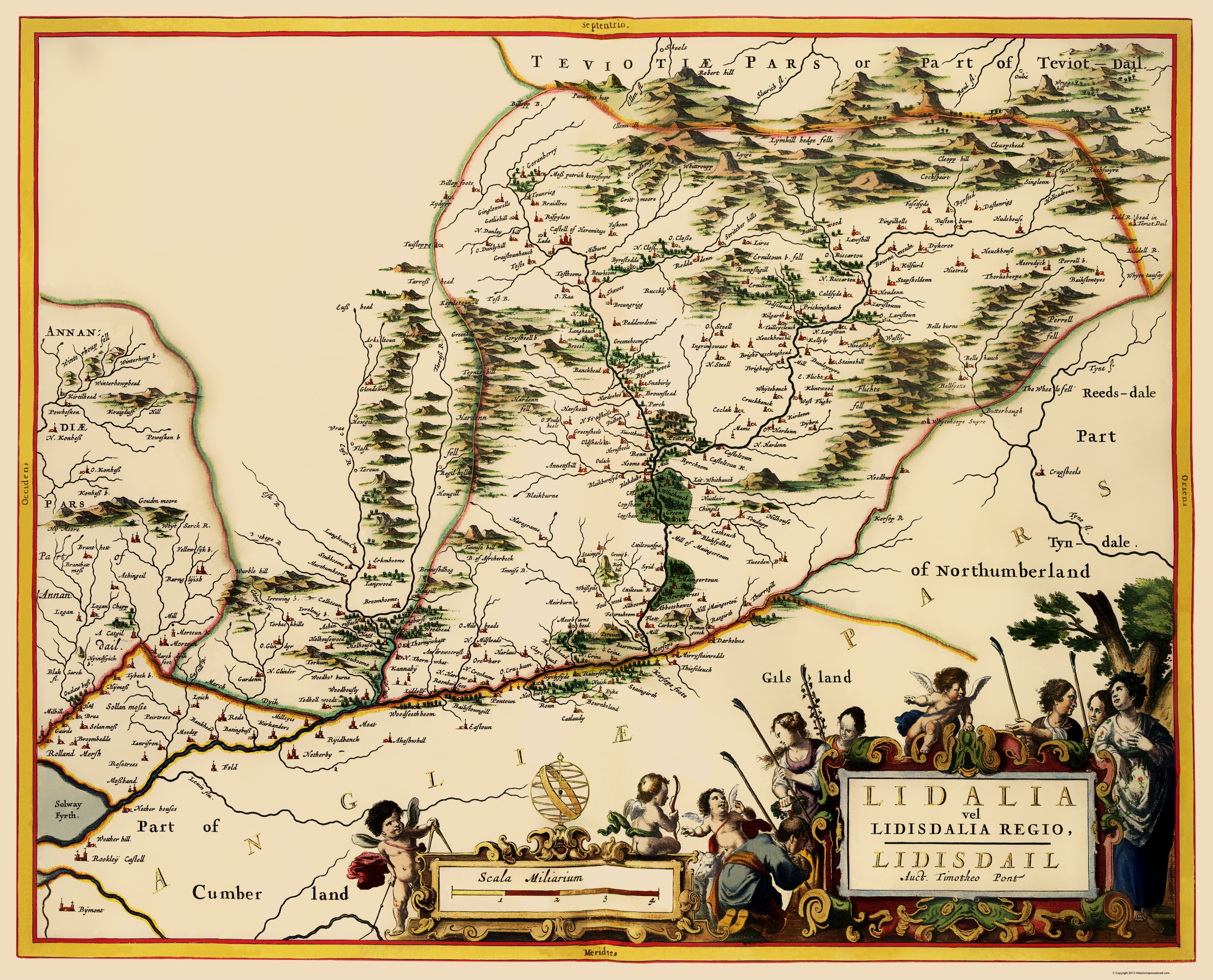 Map Of England Scotland.Old Great Britain Map England And Scotland Border 1654