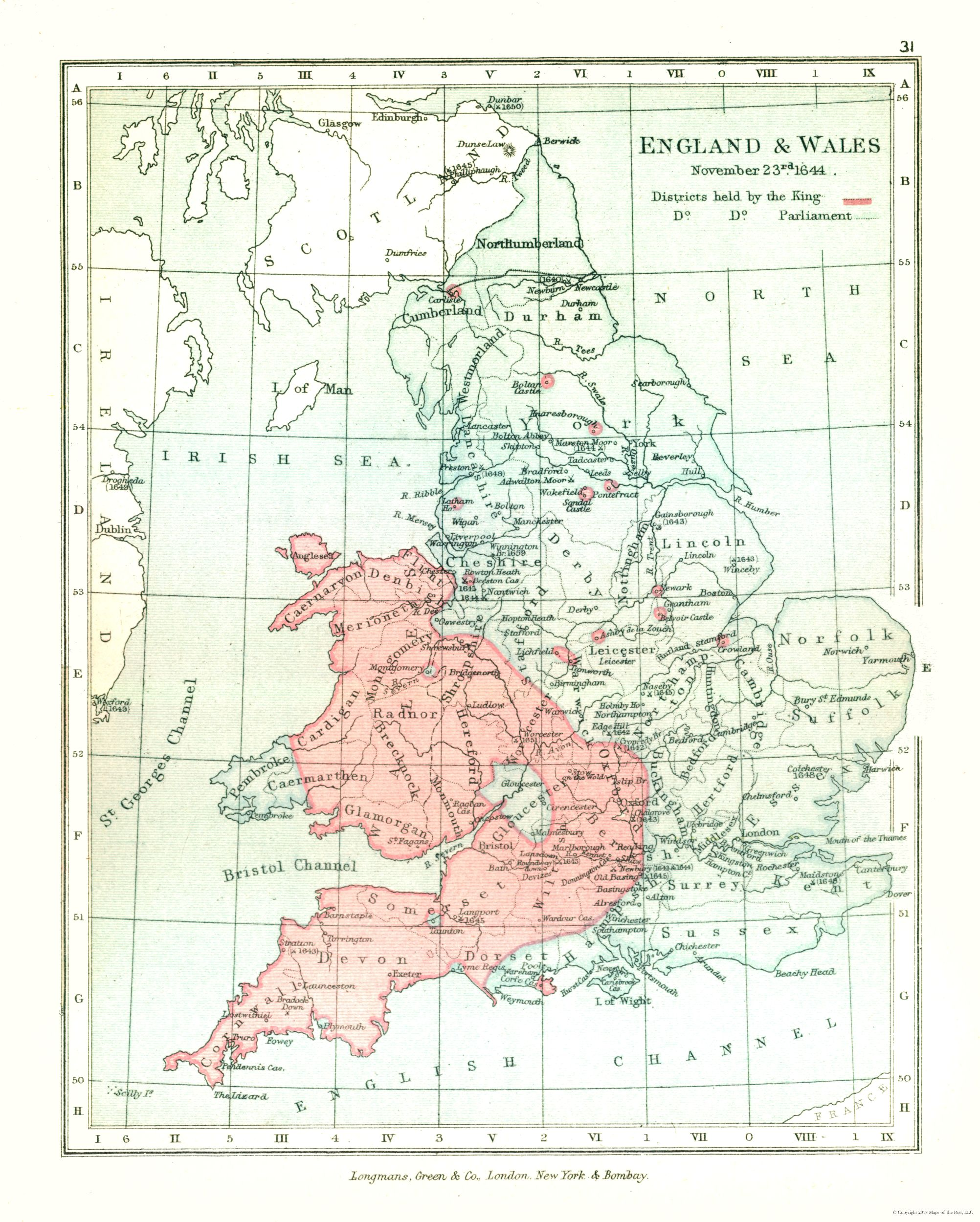 Map Of England And Wales.Old International Maps England Wales In 1644 Gardiner 1902 23