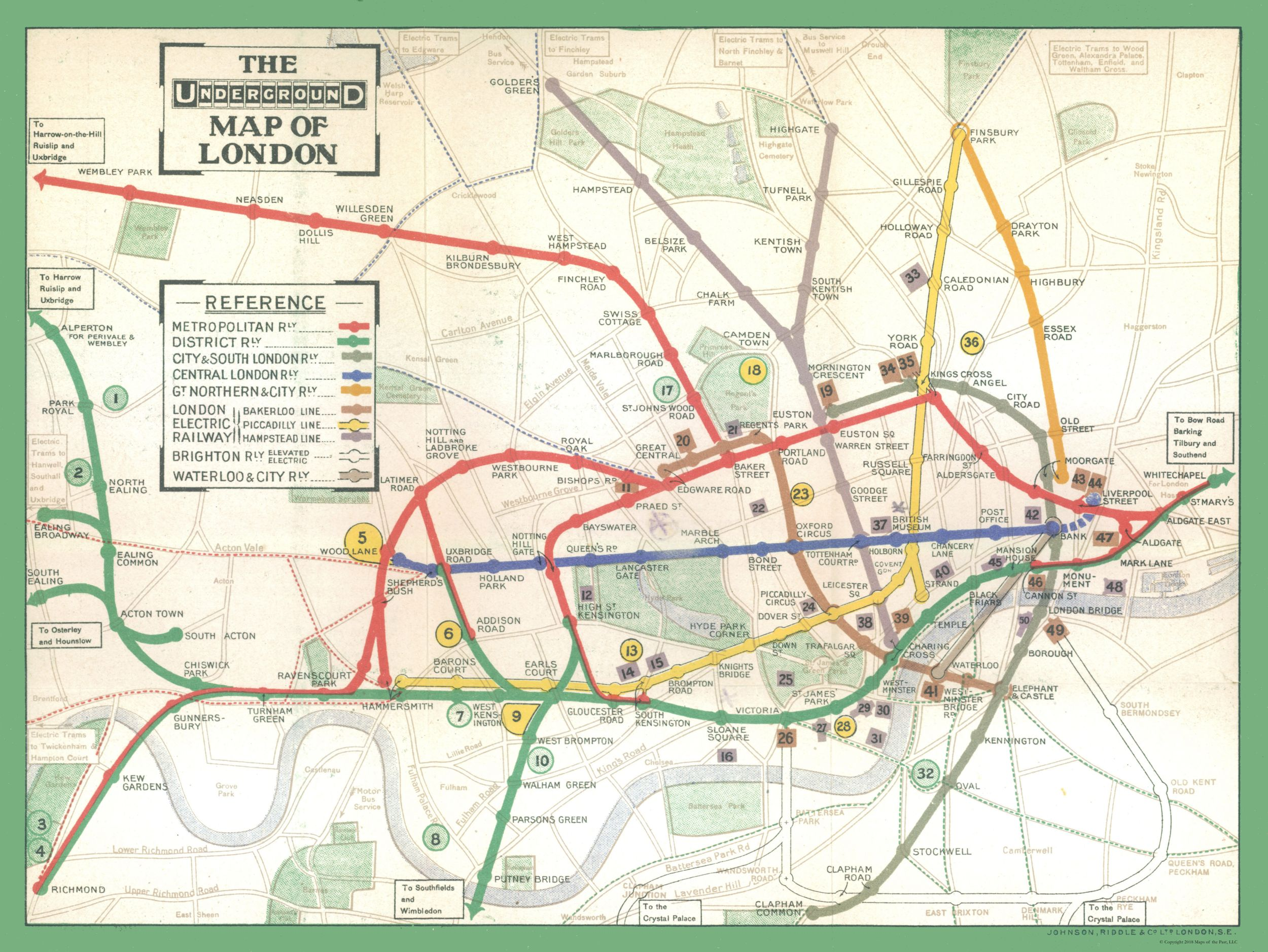 A Map Of London England.Old Great Britain Map London Underground Ward 1913 30 64 X 23