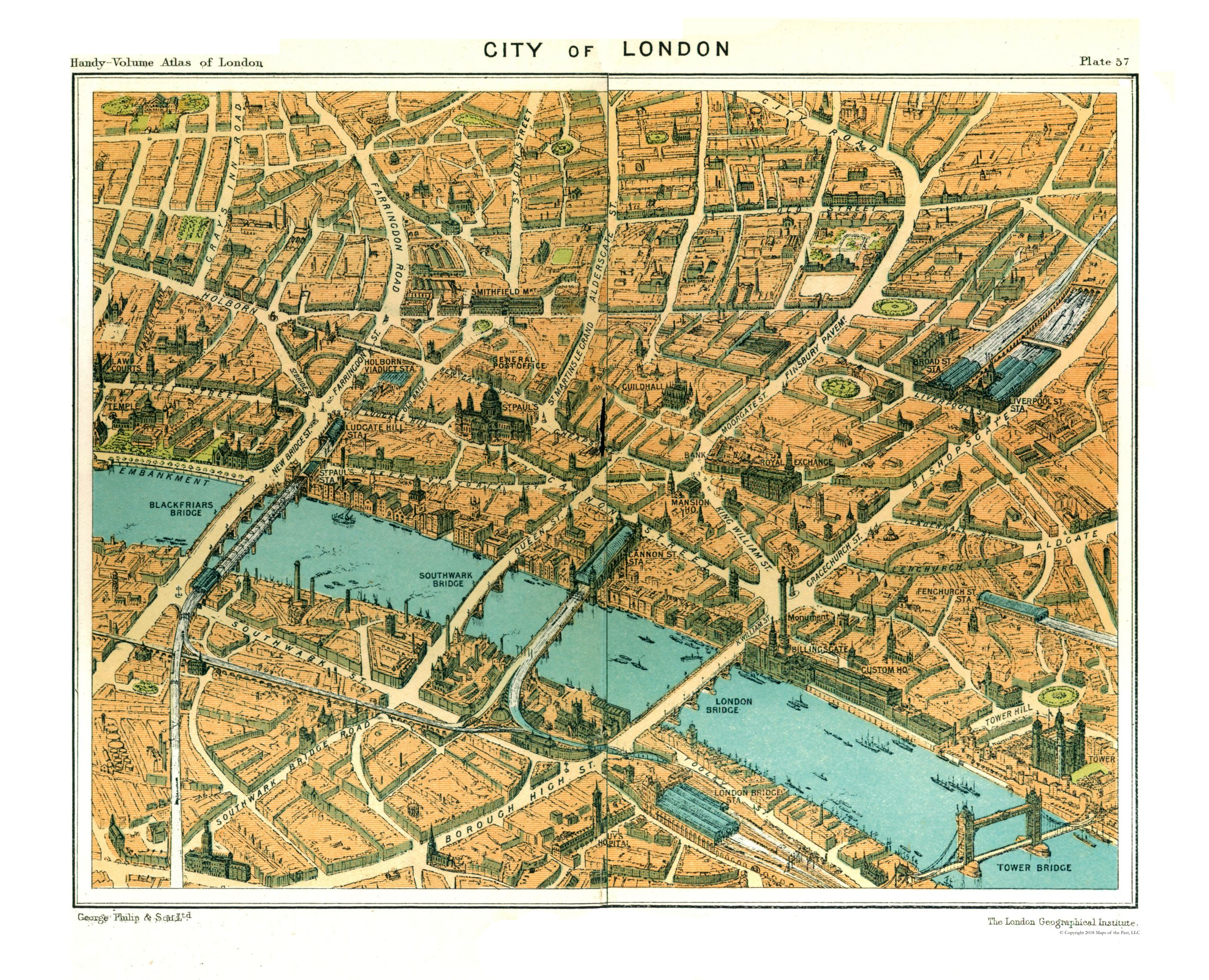 Map Of City Of London.Old International Maps City Of London Philips 1904 28 35 X 23