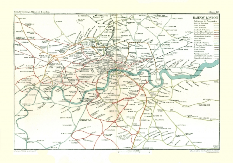 London Great Britain Map.Old Great Britain Map London Railways Philips 1904 32 72 X 23