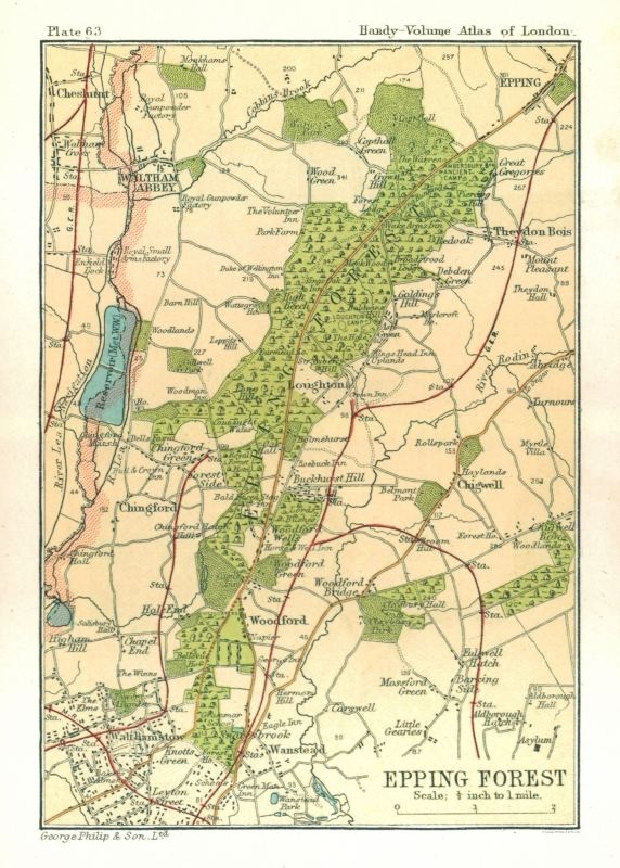 London In England Map.Old Great Britain Map Epping Forest London Philips 1904 23 X 32 13