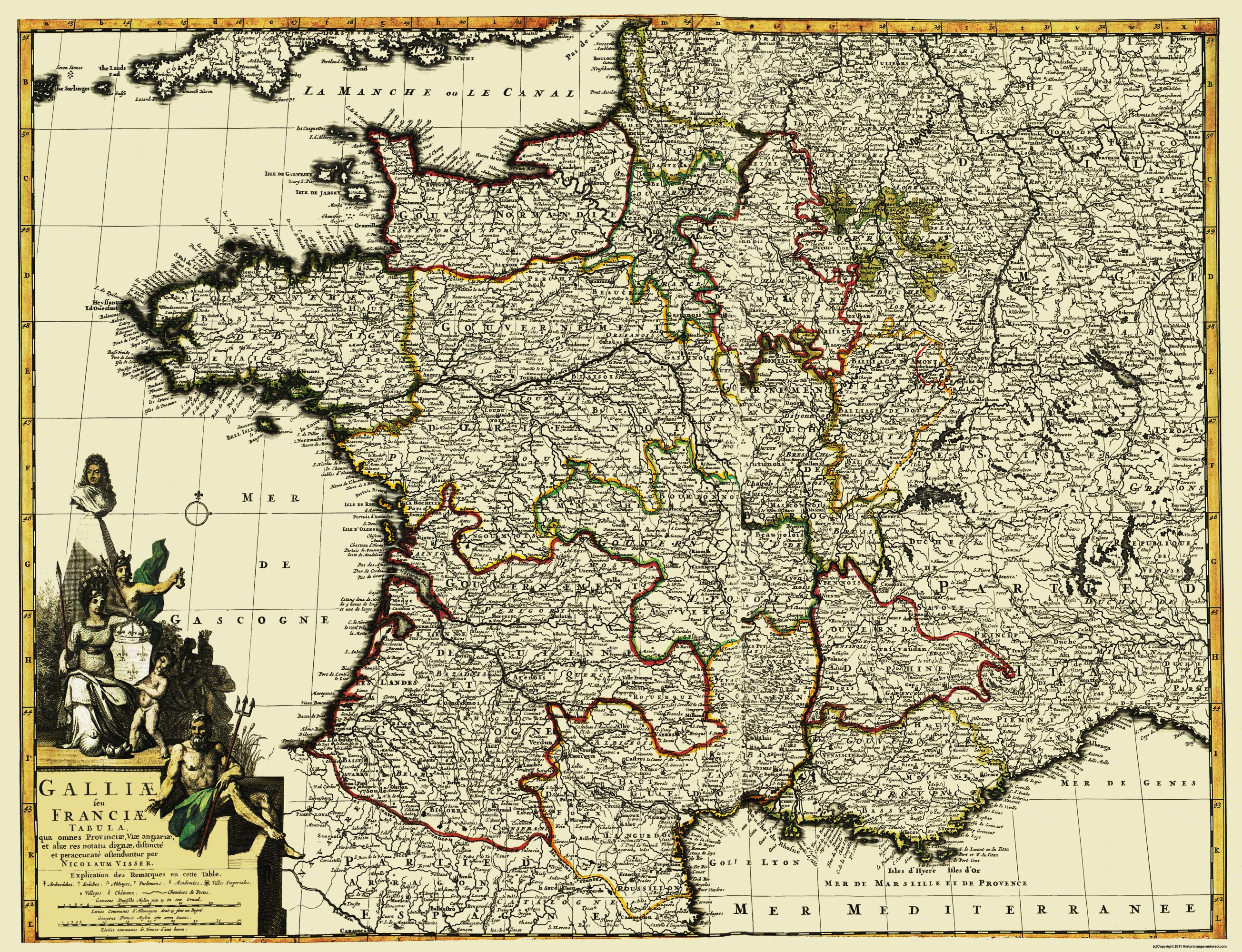 Map Of Western France.Old Europe Map Western Part Europe With France 1653