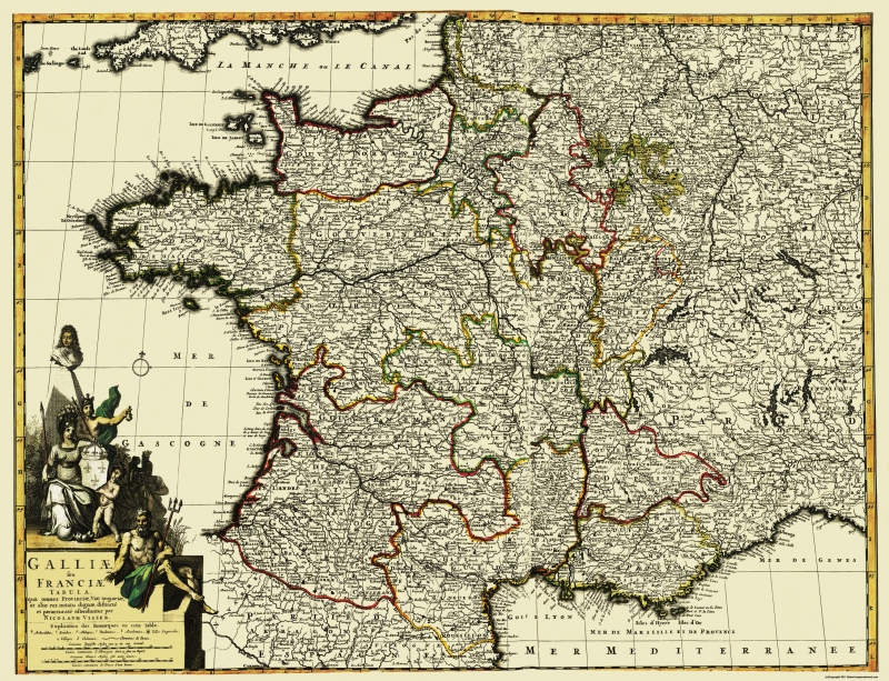 Map Of Western France.Old Europe Map Western Part Europe With France 1653 30 X 23