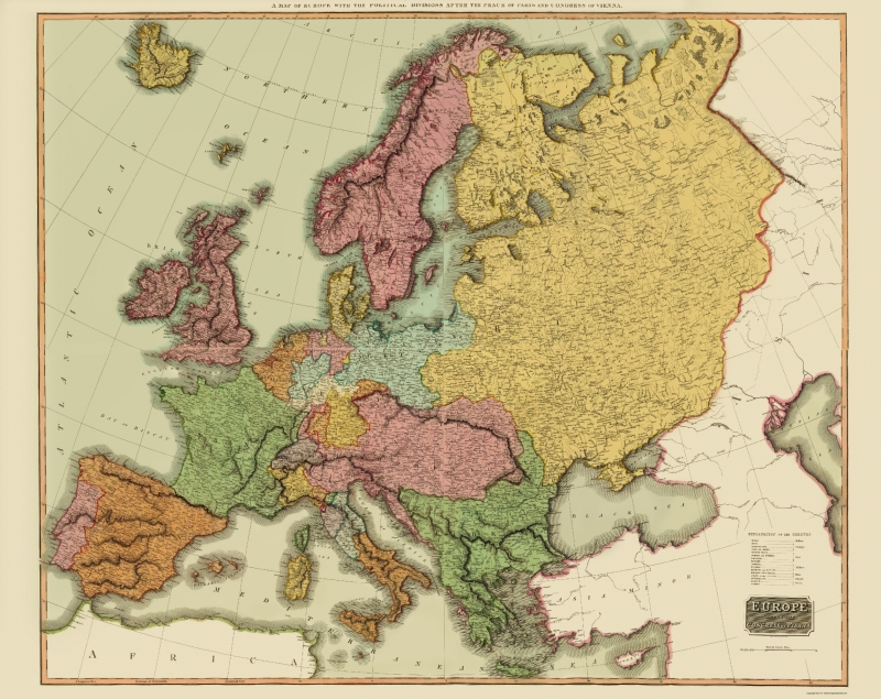 Old Europe Map - Europe after Congress of Vienna - Thomson 1815 - 23 x 28.96