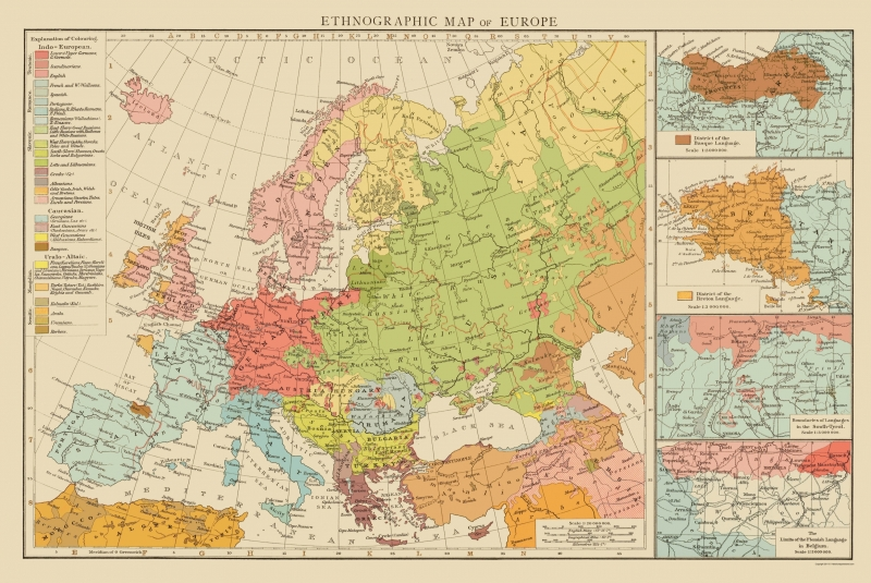 Old Europe Map - Ethnic Distribution of Europe - Times London 1895 - 23 x  34.40
