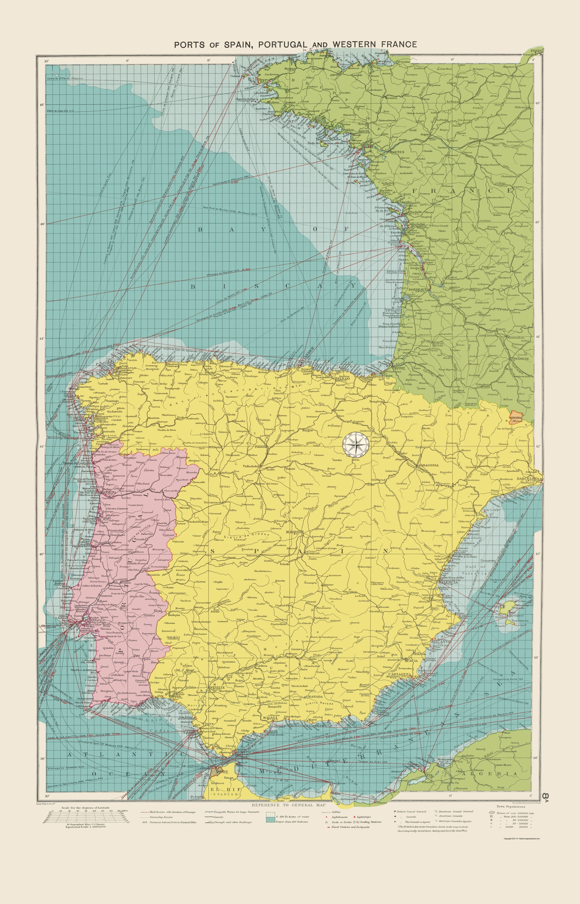 Map Of Spain Portugal And France.Old Europe Map Spain Portugal And Western France Ports