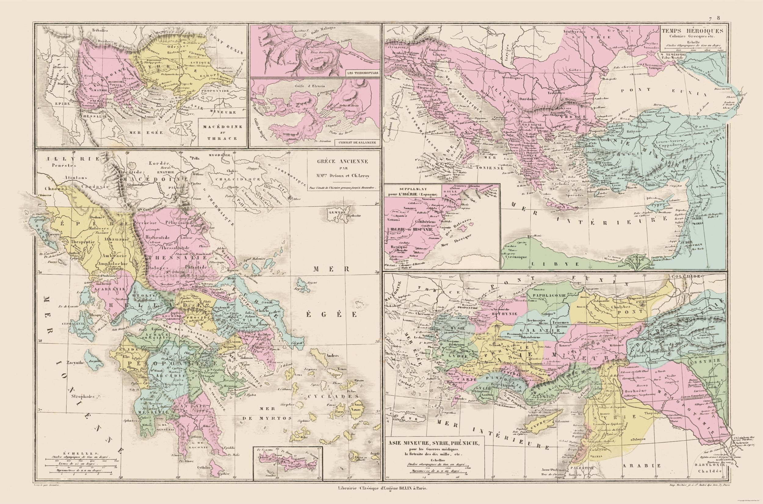 International Map - Eastern Europe, Middle East - Drioux 1882 - 34.81 x 23