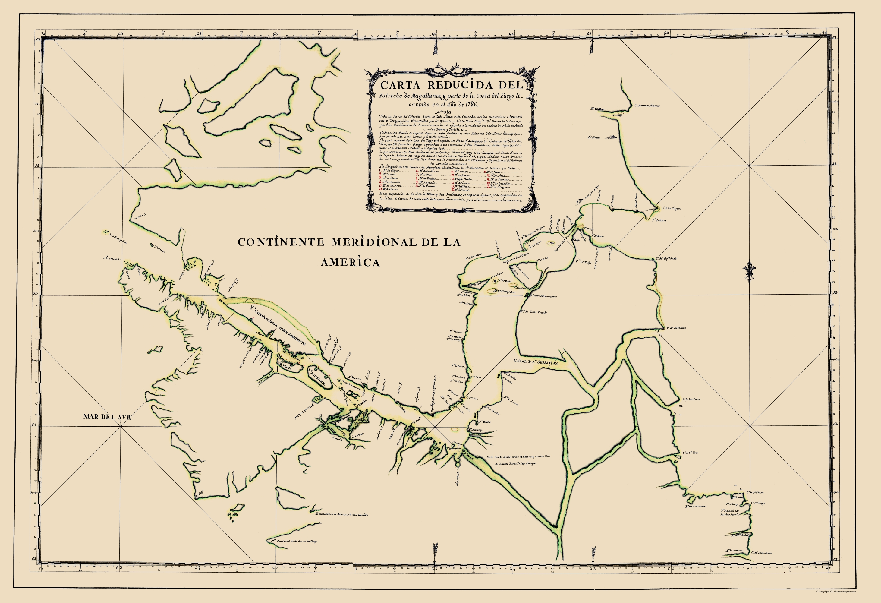 Tip Of South America Map.Old Map Southern Tip Of South America 1786