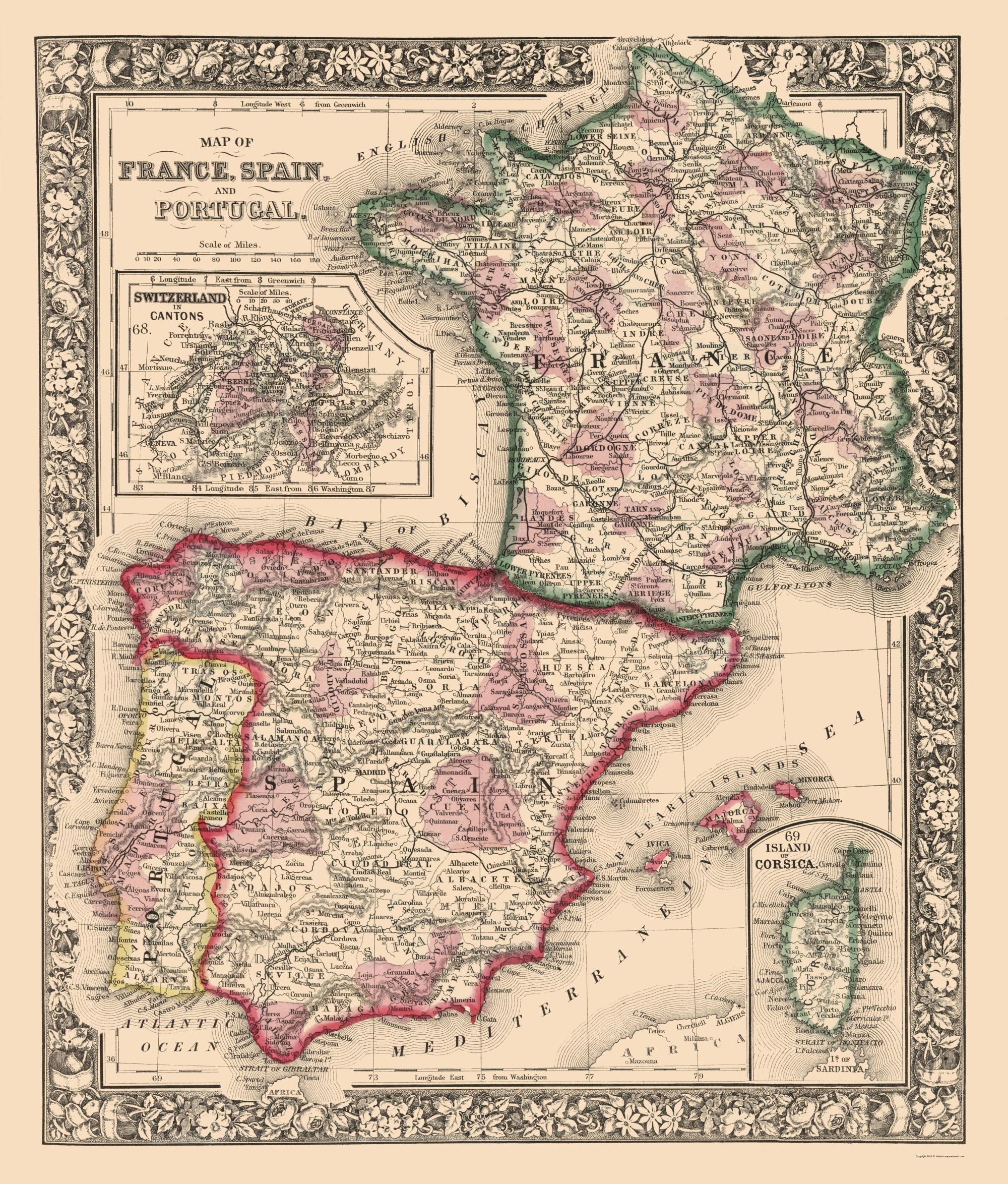 Map Of Spain Portugal And France.Old Europe Map France Spain And Portugal Mitchell 1862 23 X 27 00