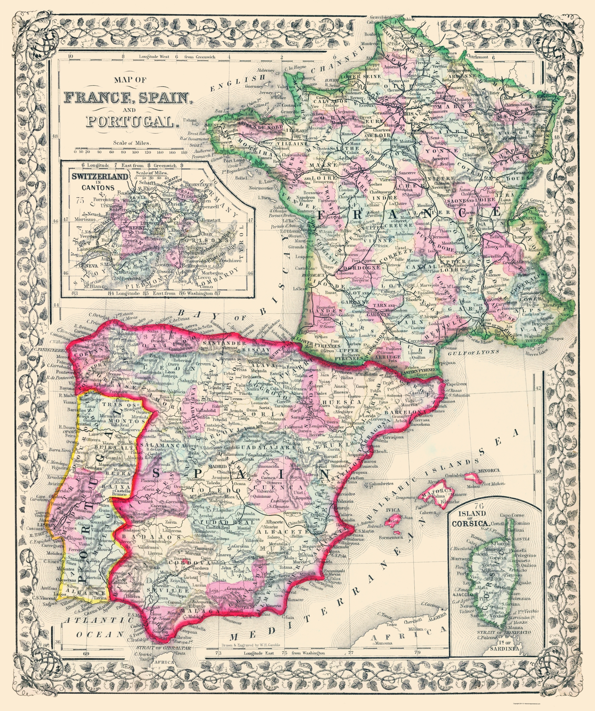 Map Of Spain Portugal And France.Old Europe Map France Spain And Portugal Mitchell 1864 23 X 27 47