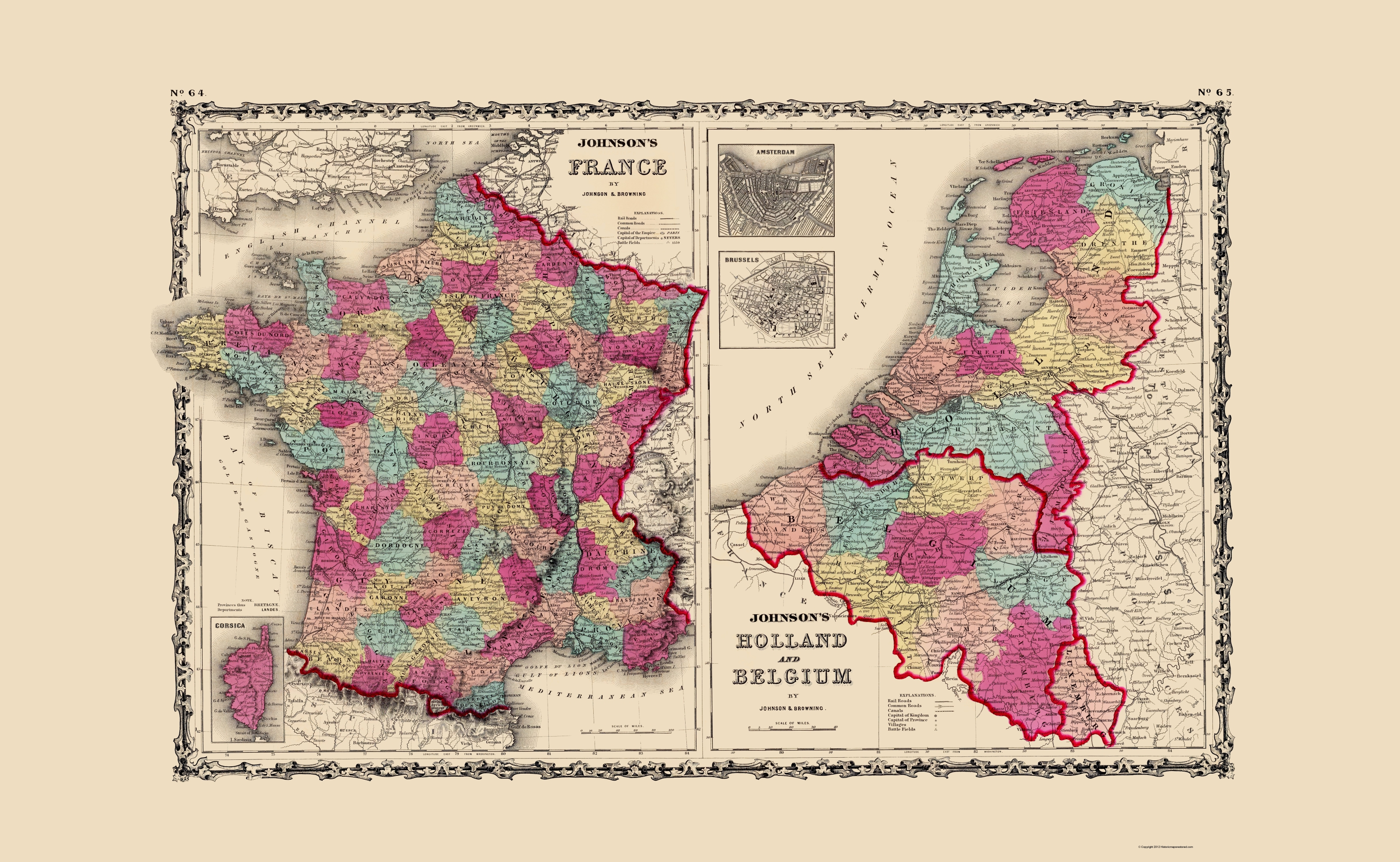 Map Of France And Holland Belgium.Old Europe Map France Holland Belgium Johnson 1860