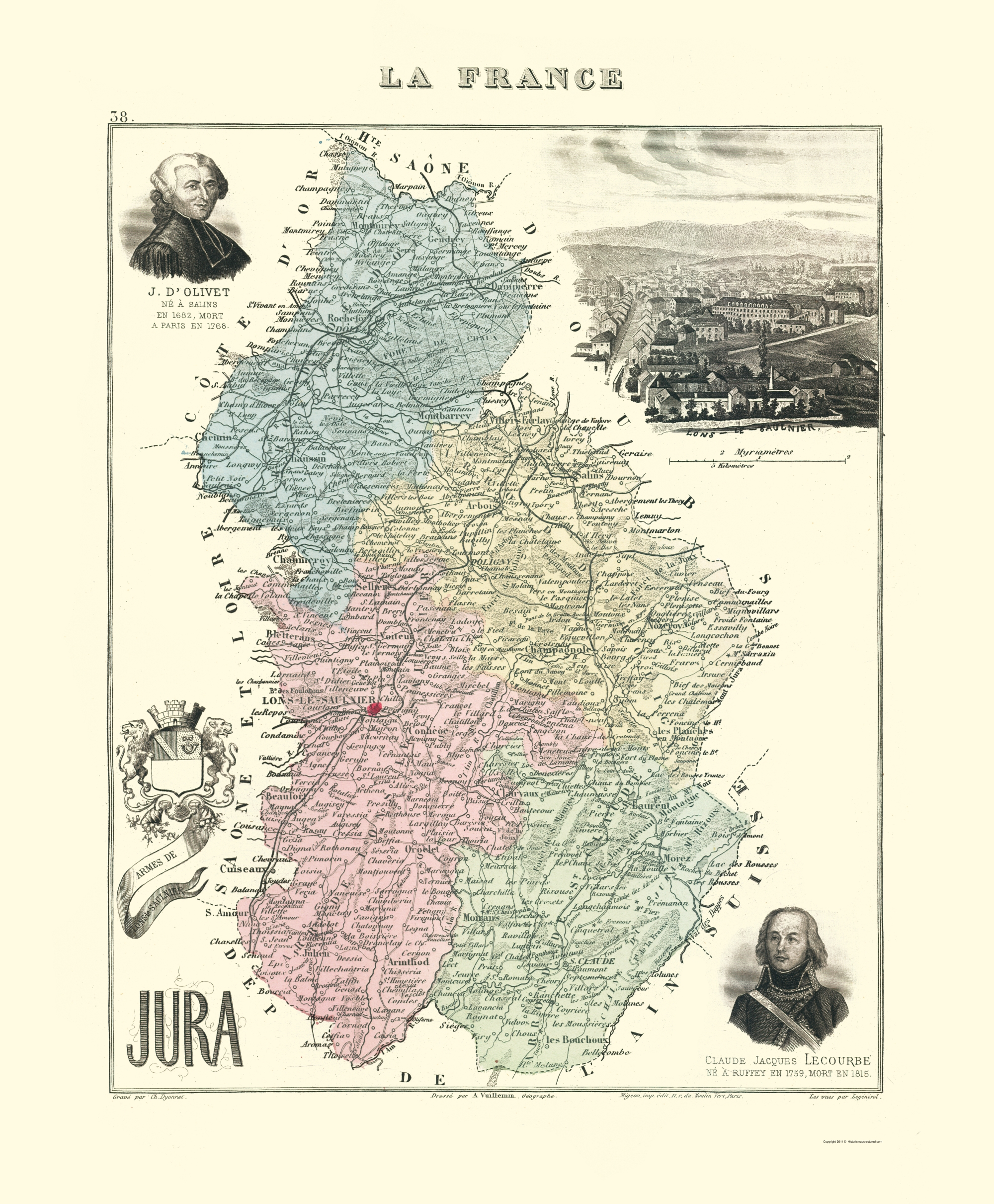 Map Of France Jura.Old France Map Jura Region Migeon 1869