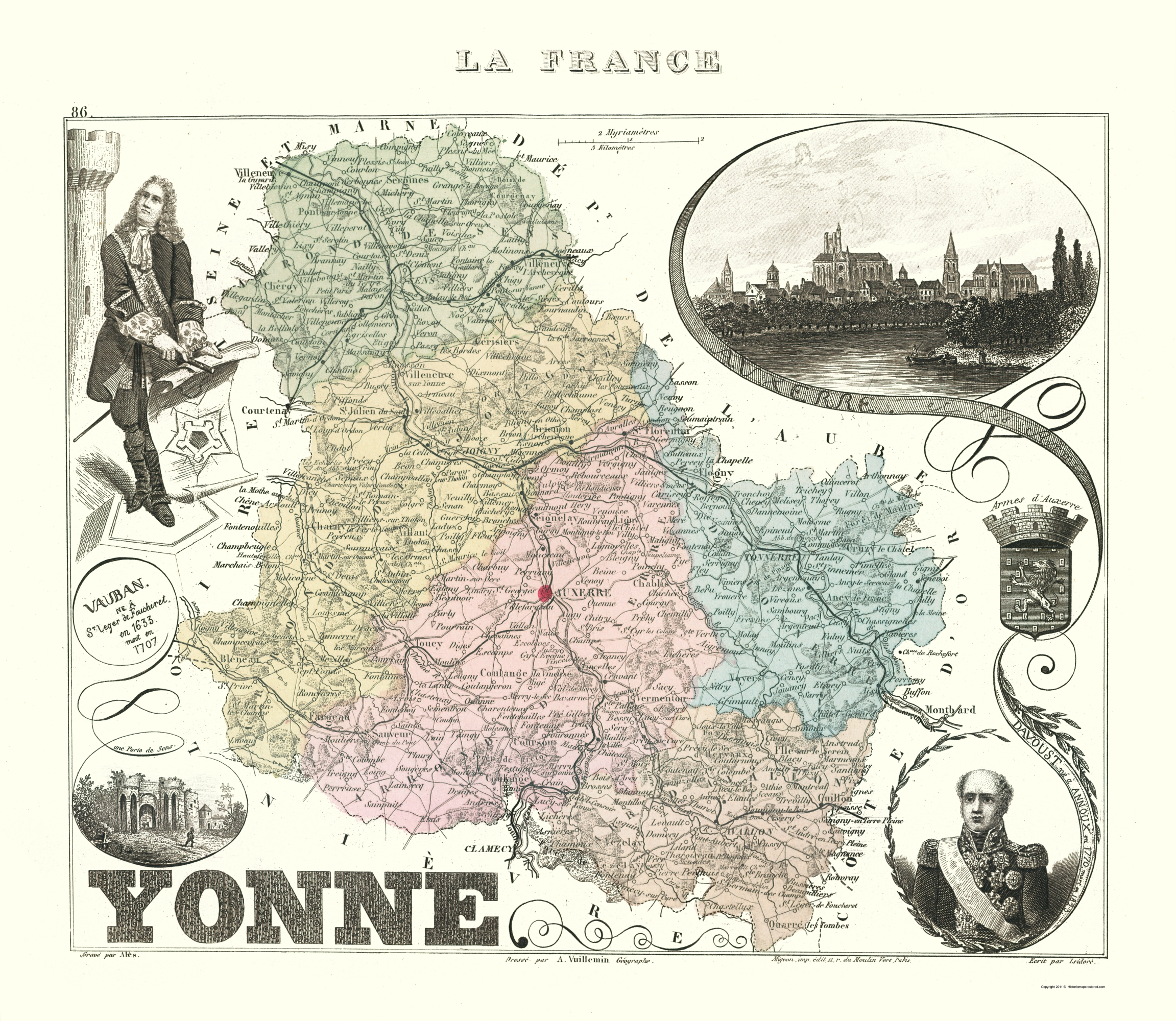Map Of Yonne France.Old France Map Yonne Department Migeon 1869