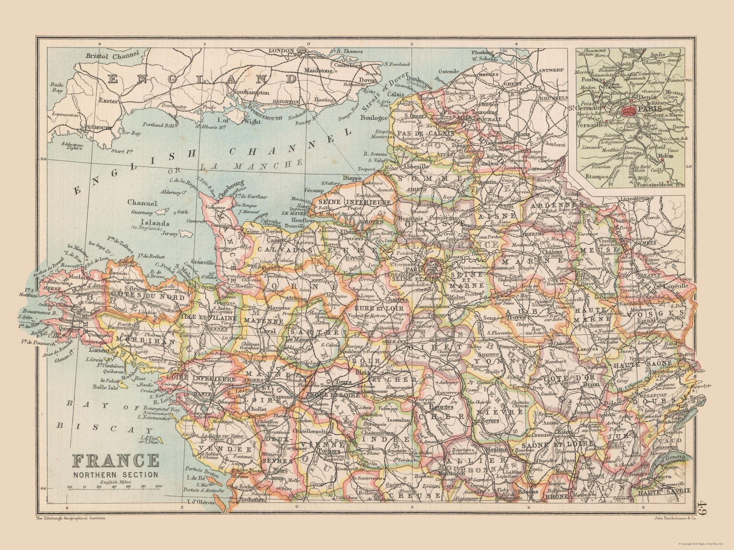 Map Of North France.Old International Maps Northern France Bartholomew 1892 30 72 X 23