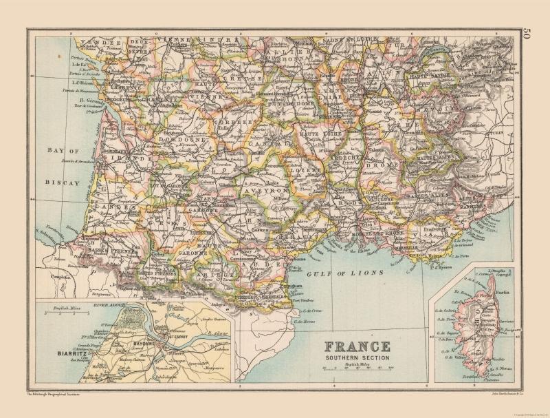 Detailed Map Of Southern France.International Map Southern France Bartholomew 1892 30 33 X 23