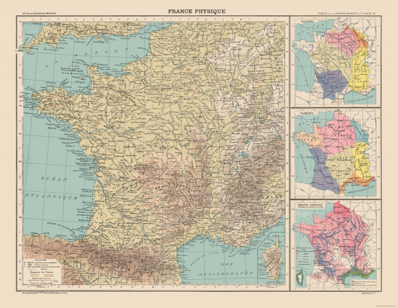 International Map - Physical Map of France - Schrader 1908 - 29 64 x 23