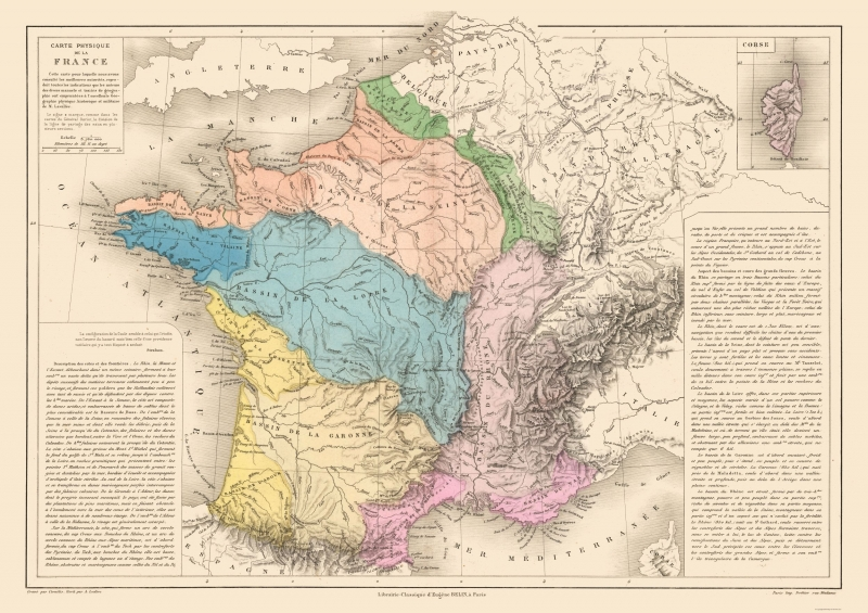 International Map - Physical Map - France - Drioux 1882 - 32.55 x 23