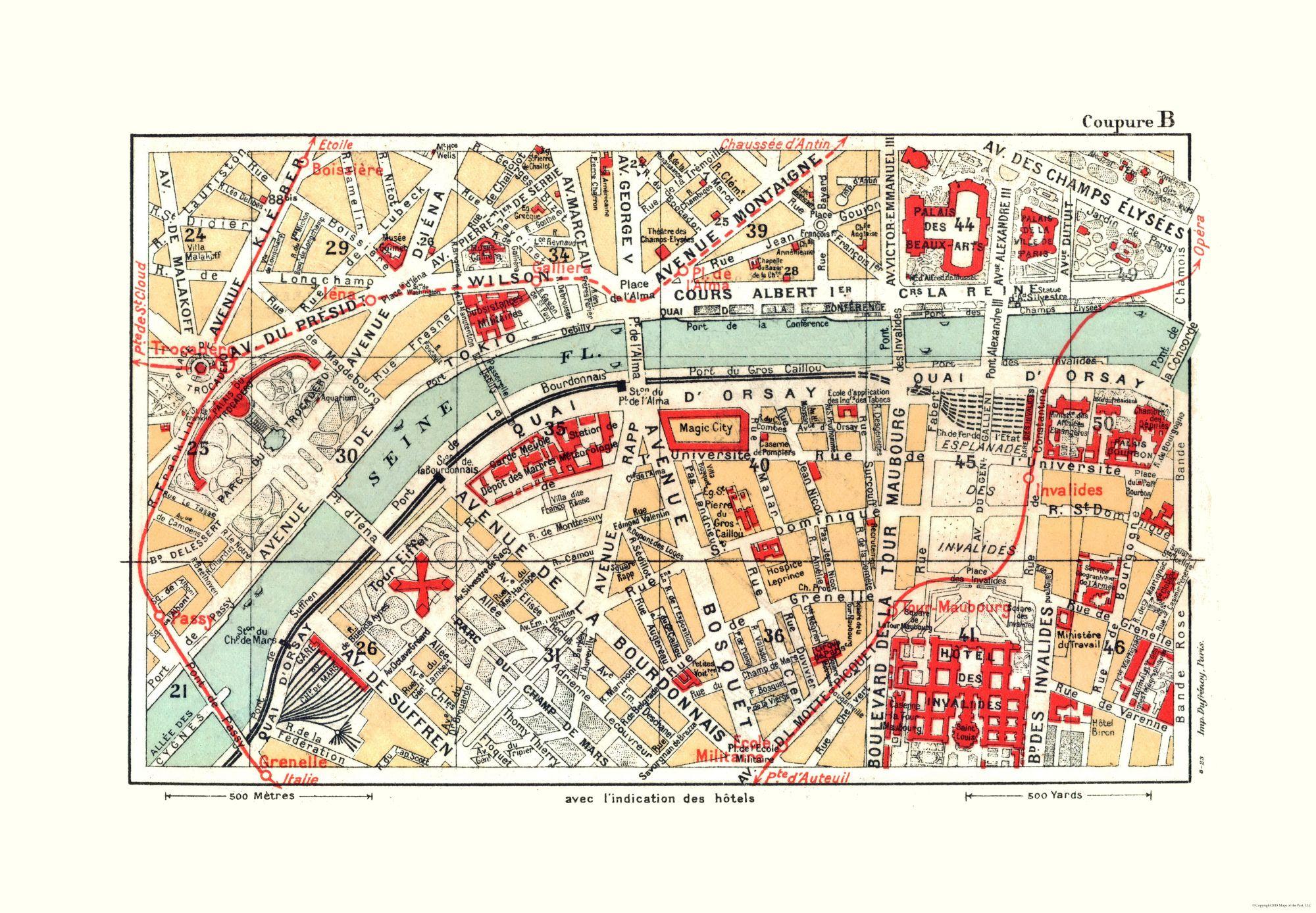 Map Of France Eiffel Tower.International Map Eiffel Tower Paris Blue Guides 1921 33 15 X 23