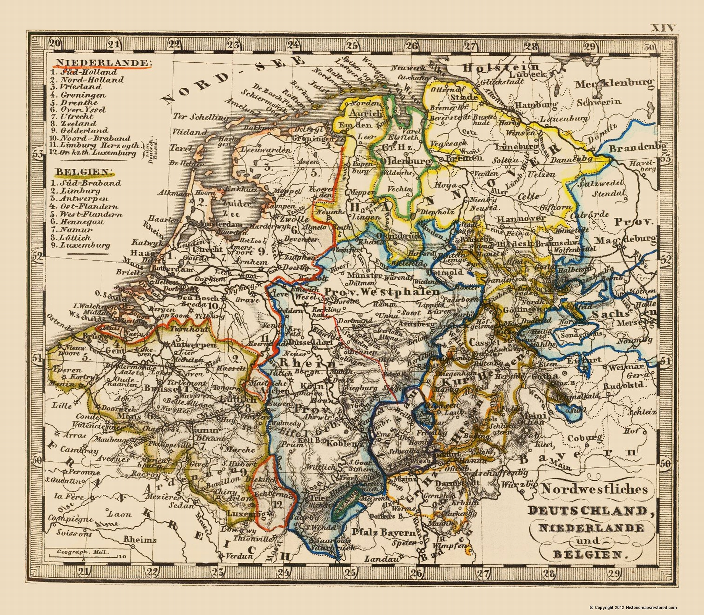 Map Of Germany And The Netherlands.Old Europe Map Northwest Germany Netherlands Benelux 1852 23 X 26