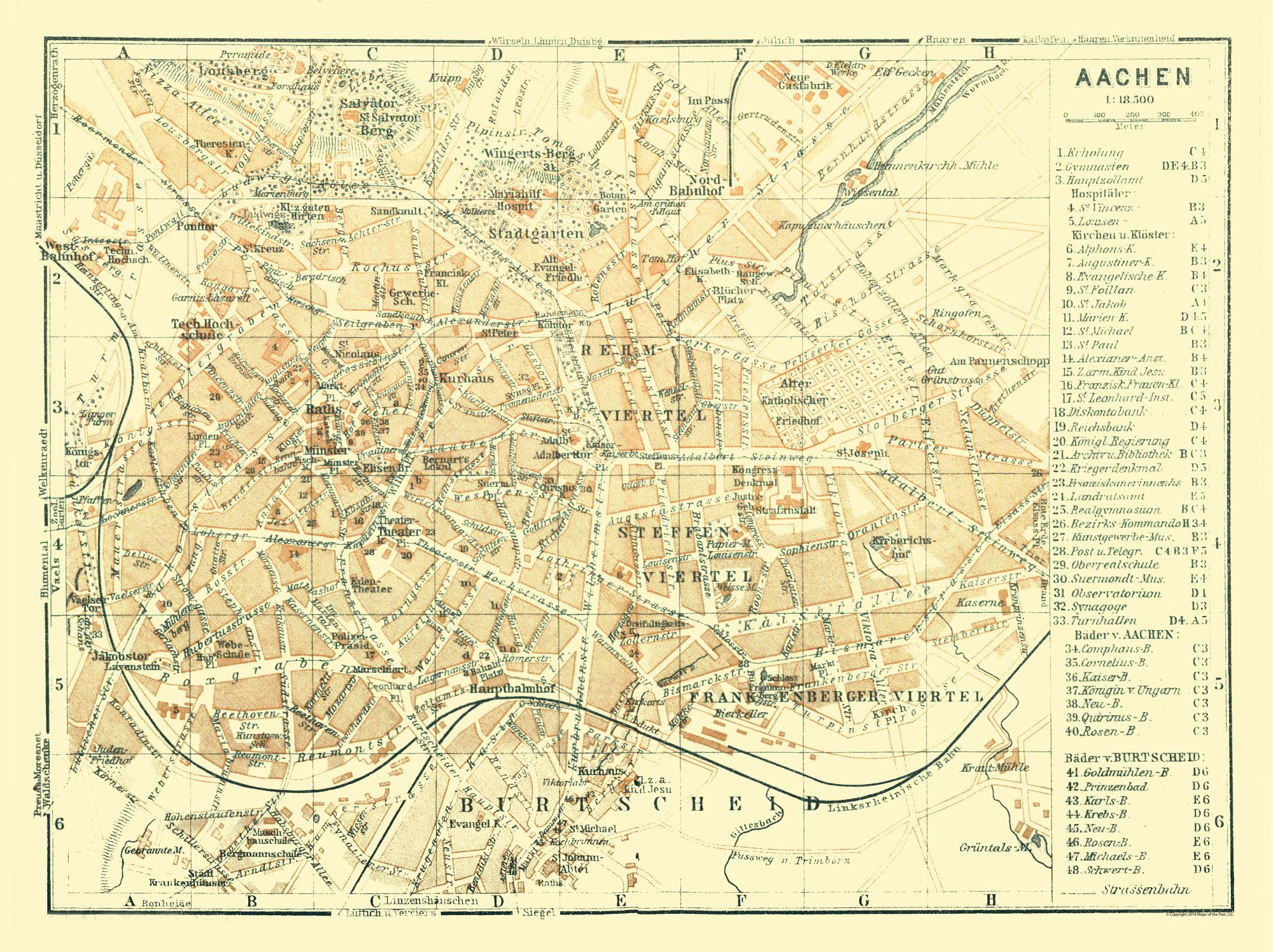 Map Of Germany In 1914.Old International Maps Aachen Germany Baedeker 1914 30 74 X 23