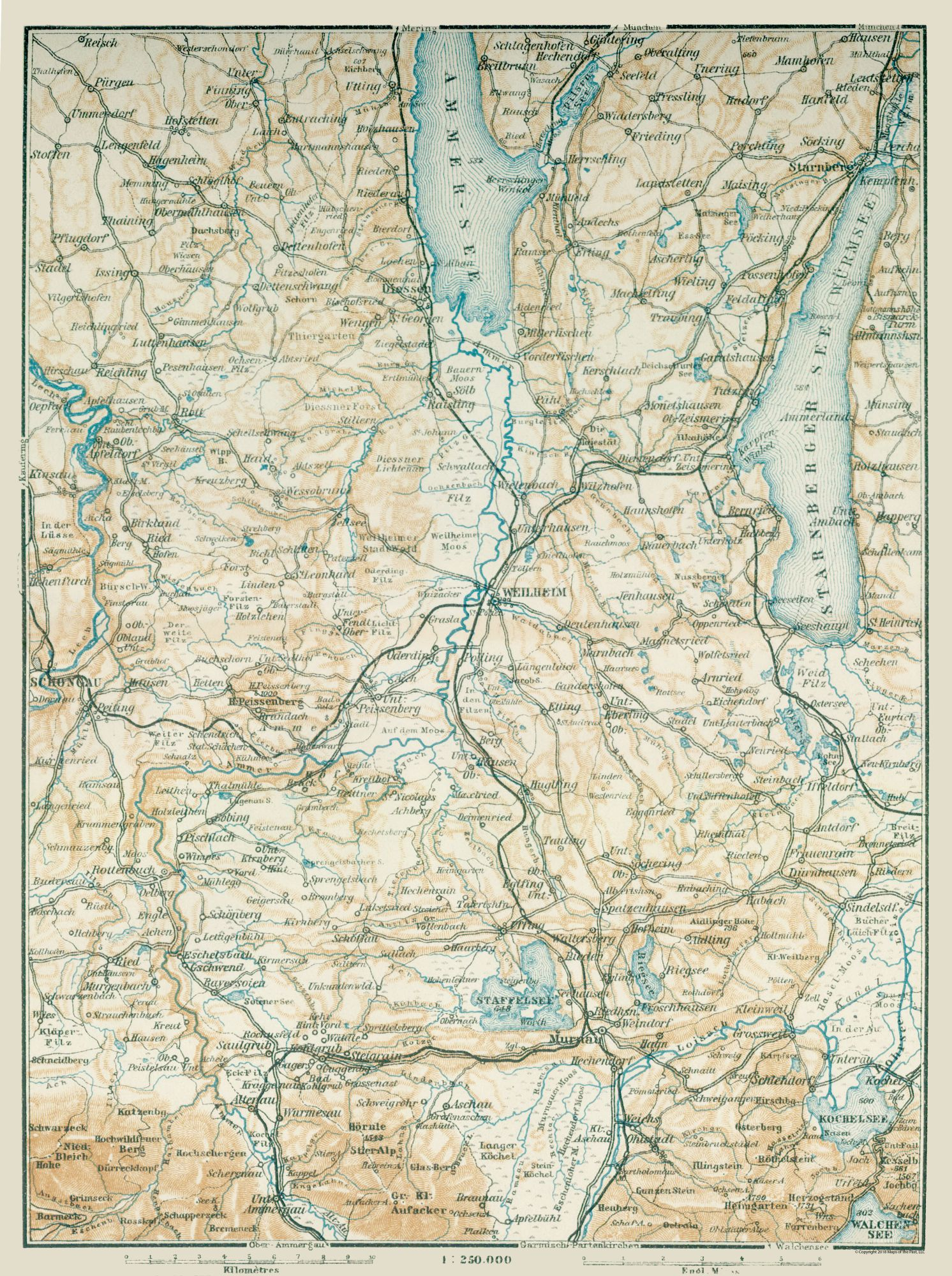 Map Of Germany In 1914.Old International Maps South Germany Baedeker 1914 23 00 X 30 83