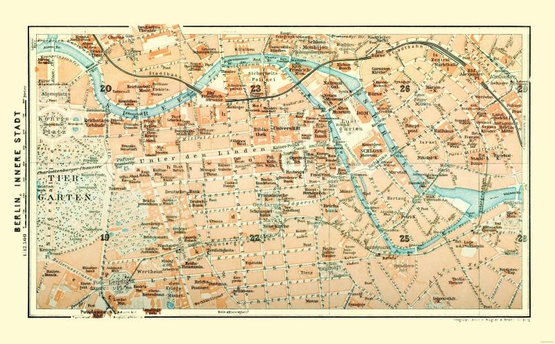 Map Of Germany In 1914.International Map Berlin German Baedeker 1914 37 12 X 23